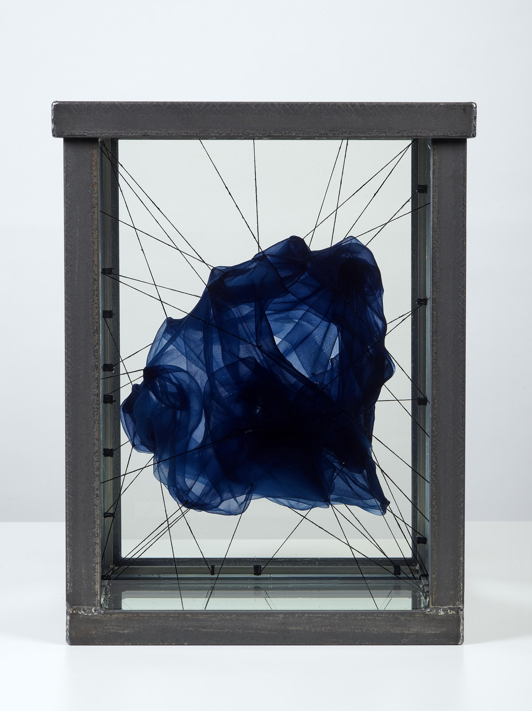 "<span class=""link fancybox-details-link""><a href=""/content/feature/155/artworks438/"">View Detail Page</a></span><div class=""medium"">Mixed media sculpture<br /> (Cyanotype on silk, natural fibre string, mineral oil, stainless steel and security glass)<br /> Unique</div> <div class=""dimensions"">38.5 x 28 x 28 cm<br /> 15 1/8 x 11 1/8 x 11 1/8 in</div> <div class=""edition_details"">Unique</div>"