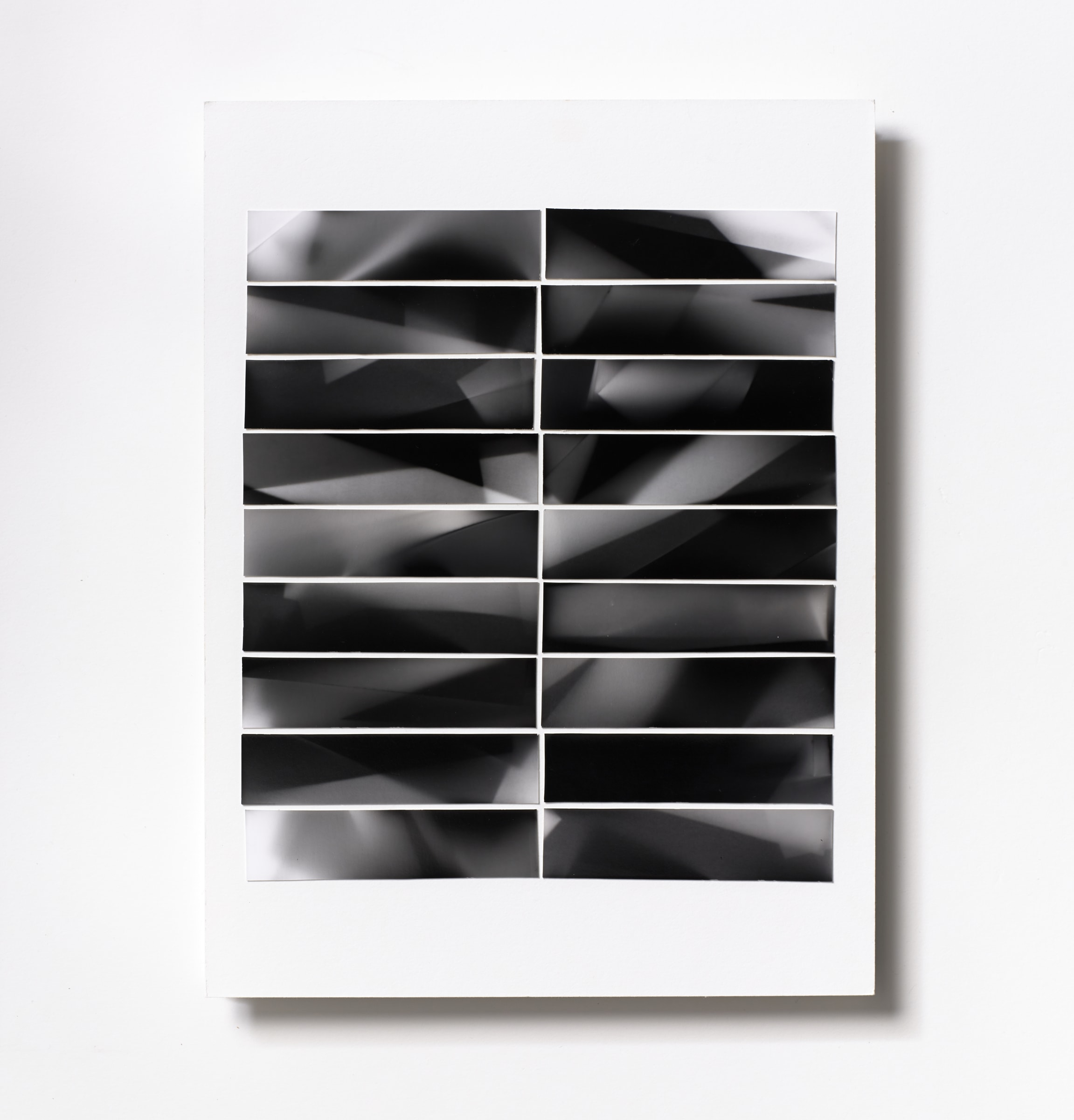 "<span class=""link fancybox-details-link""><a href=""/content/feature/121/artworks553/"">View Detail Page</a></span><div class=""medium"">Silver Gelatin Photogram Print Collage of eighteen handmade 7/8"" x 3 7/8"" silver gelatin photograms on a 12 x 9 inch 8-ply museum board.<br /> Print only<br /> Unique</div> <div class=""dimensions"">30.5 x 22.9 cm<br /> 12 x 9 in</div>"