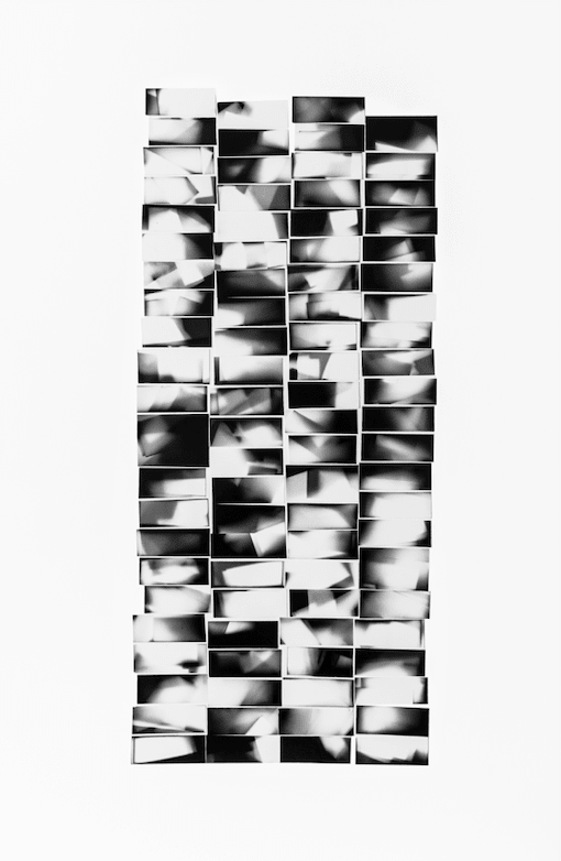 """<span class=""""link fancybox-details-link""""><a href=""""/content/feature/222/artworks336/"""">View Detail Page</a></span><div class=""""medium"""">Collage of 90 silver gelatin photograms mounted to archival board and framed in a handmade white box frame with UV Perspex glazing<br /> Unique</div> <div class=""""dimensions"""">75.5 x 49.5 cm<br /> 29 3/4 x 19 1/2 in</div>"""
