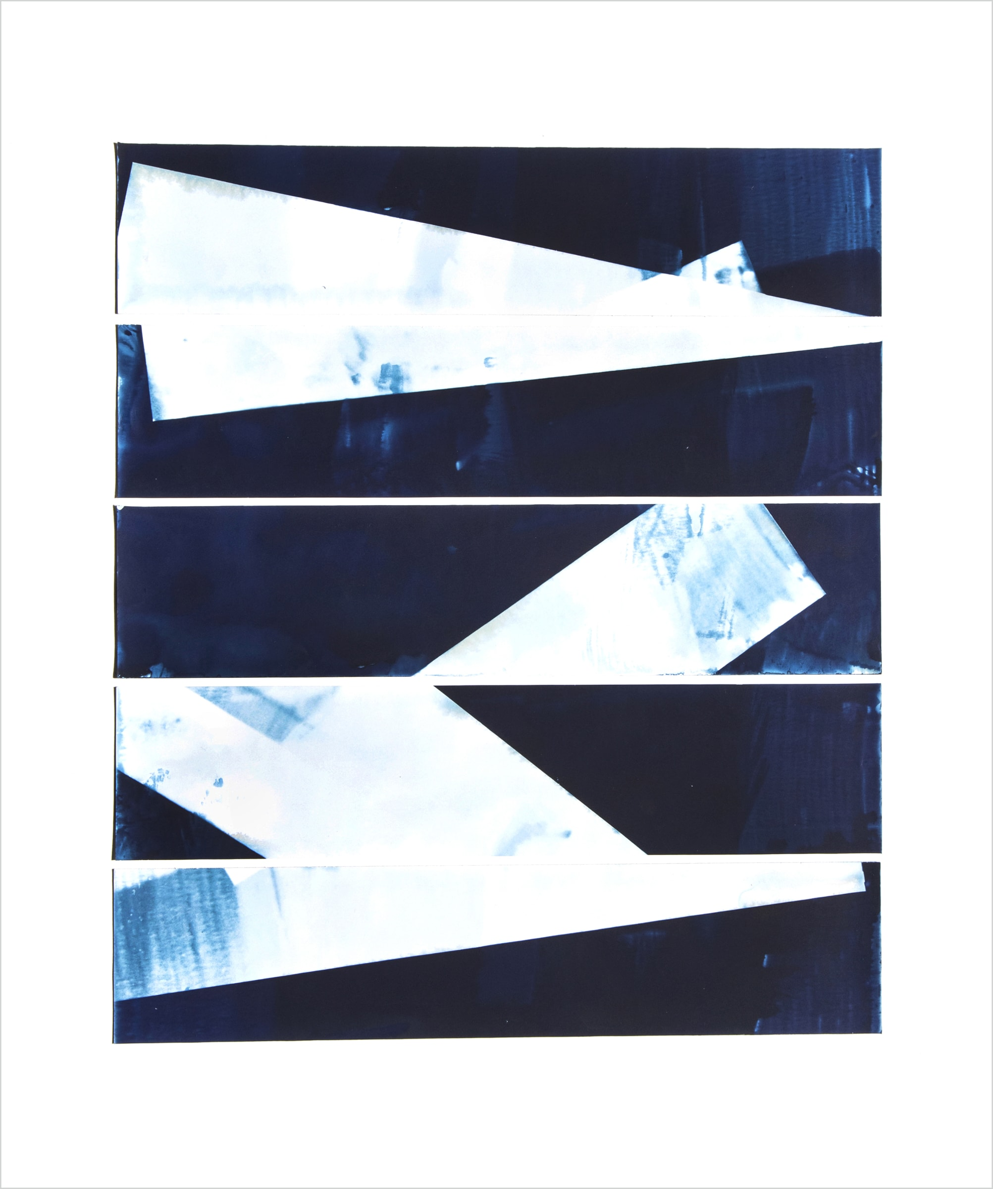 "<span class=""link fancybox-details-link""><a href=""/content/feature/160/artworks522/"">View Detail Page</a></span><div class=""medium"">Collage of five 2.5"" x 11"" cyanotype photograms on a 16"" x 20""<br /> museum board<br /> Print only<br /> Unique</div> <div class=""dimensions"">50.8 x 40.6 cm<br /> 20 x 16 in</div>"