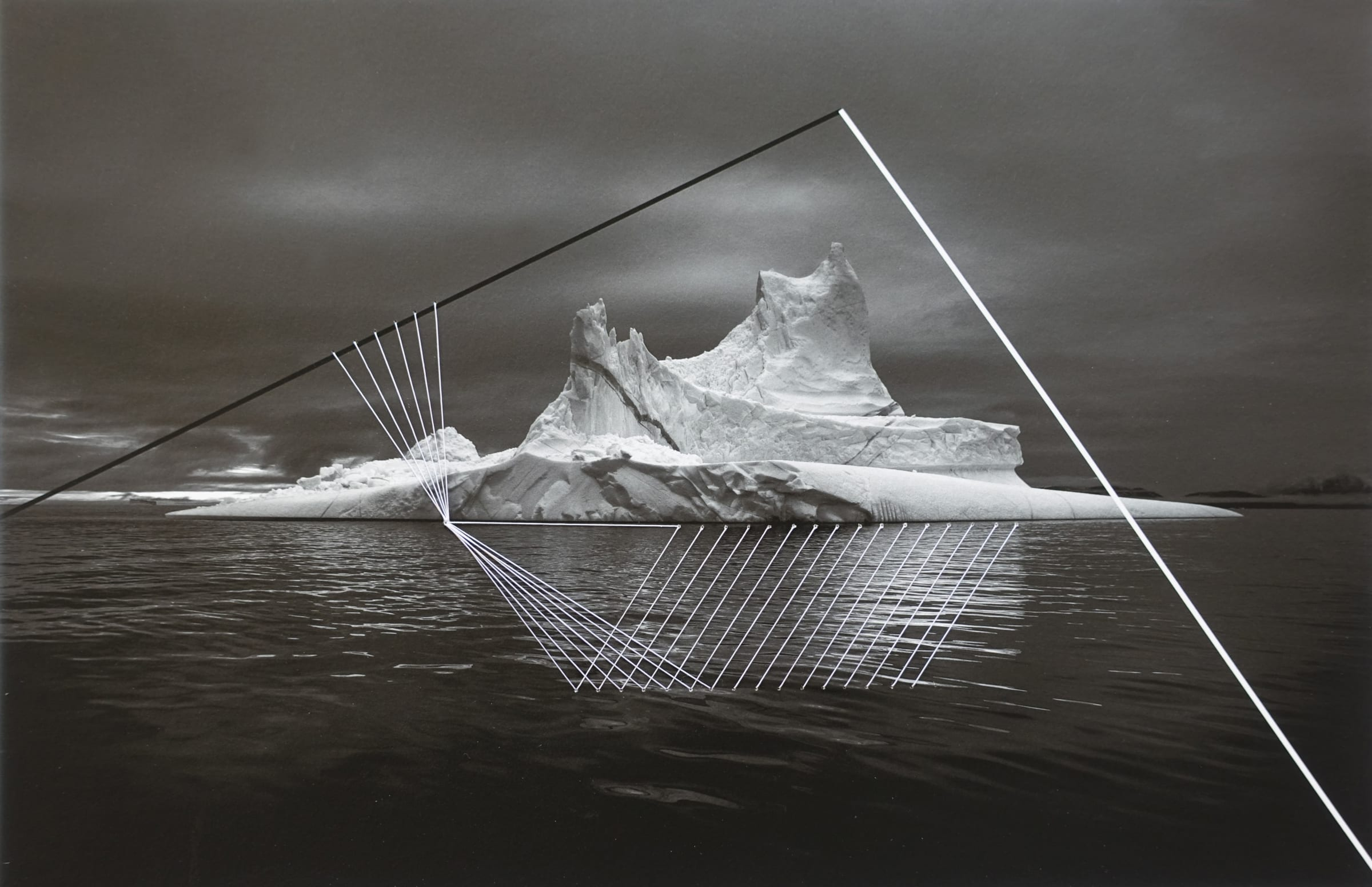"""<span class=""""link fancybox-details-link""""><a href=""""/artists/52-adriene-hughes/works/893-adriene-hughes-threaded-iceberg-bw-no.-4-2019/"""">View Detail Page</a></span><div class=""""artist""""><strong>Adriene Hughes</strong></div> <div class=""""title""""><em>Threaded Iceberg BW No. 4</em>, 2019</div> <div class=""""medium"""">Archival Pigment Print on Cotton Rag with Cotton Quilting Thread<br /> Print only<br /> Unique</div> <div class=""""dimensions"""">20.3 x 30.5 cm<br /> 8 x 12 in</div><div class=""""copyright_line"""">Copyright Adriene Hughes<br></div>"""