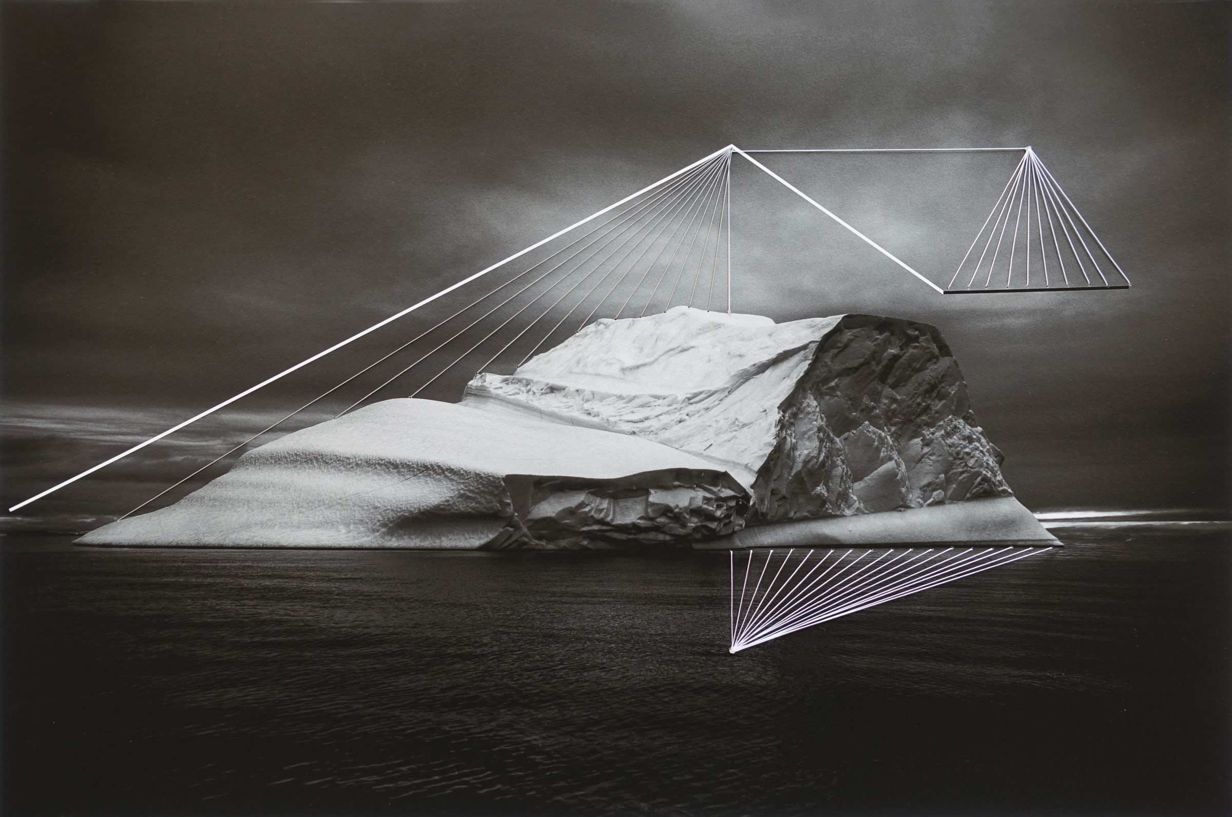 """<span class=""""link fancybox-details-link""""><a href=""""/artists/52-adriene-hughes/works/891-adriene-hughes-threaded-iceberg-bw-no.-1-2019/"""">View Detail Page</a></span><div class=""""artist""""><strong>Adriene Hughes</strong></div> <div class=""""title""""><em>Threaded Iceberg BW No. 1</em>, 2019</div> <div class=""""medium"""">Archival Pigment Print on Cotton Rag with Cotton Quilting Thread<br /> Print only<br /> Unique</div> <div class=""""dimensions"""">20.3 x 30.5 cm<br /> 8 x 12 in</div><div class=""""copyright_line"""">Copyright Adriene Hughes<br></div>"""