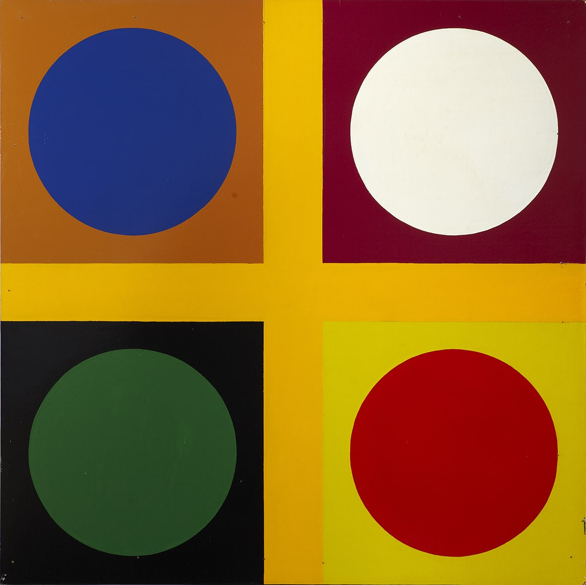 "<span class=""link fancybox-details-link""><a href=""/exhibitions/143/works/artworks11010/"">View Detail Page</a></span><div class=""artist""><strong> Poul Gernes</strong></div><div class=""title""><em>Untitled (tic tac toe painting)</em>, 1967</div><div class=""medium"">enamel paint on masonite</div><div class=""dimensions"">160.0 x 160.0 cm<br>62 15/16 x 62 15/16 in</div>"