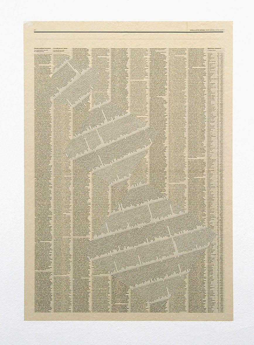 "<span class=""link fancybox-details-link""><a href=""/exhibitions/133/works/artworks9386/"">View Detail Page</a></span><div class=""artist""><strong>Tommy Grace</strong></div><div class=""title""><em>Zriiliquat</em>, 2010</div><div class=""medium"">newsprint, wallpaper paste</div><div class=""dimensions"">39.5 x 58.0 cm<br>15 3/16 x 22 5/16 in</div>"