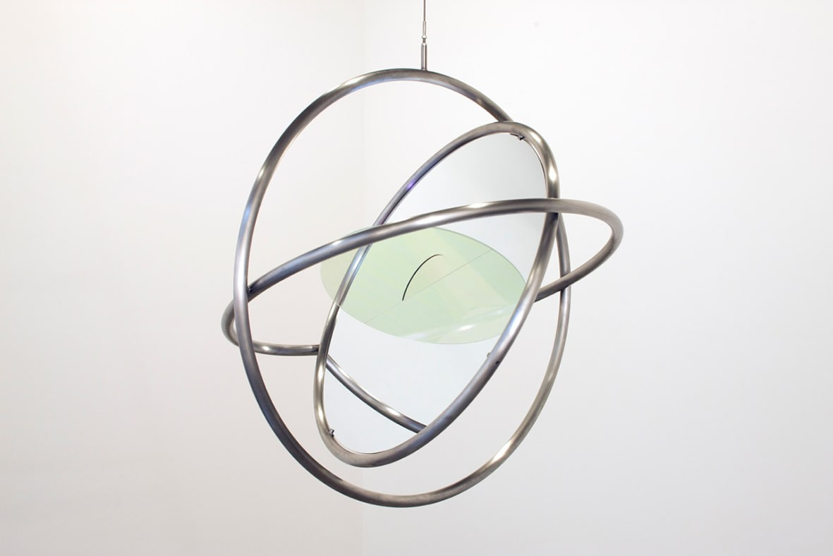 "<span class=""link fancybox-details-link""><a href=""/artists/132-olafur-eliasson/works/12135/"">View Detail Page</a></span><div class=""artist""><strong>ÓLAFUR ELÍASSON</strong></div> <div class=""title""><em>Your momentum device</em>, 2008</div> <div class=""medium"">steel, colour-effect filter glass, mirror</div> <div class=""dimensions"">28 x 28 x 7 1/8 in<br /> 71.1 x 71.1 x 17.8 cm</div> <div class=""edition_details""></div>"