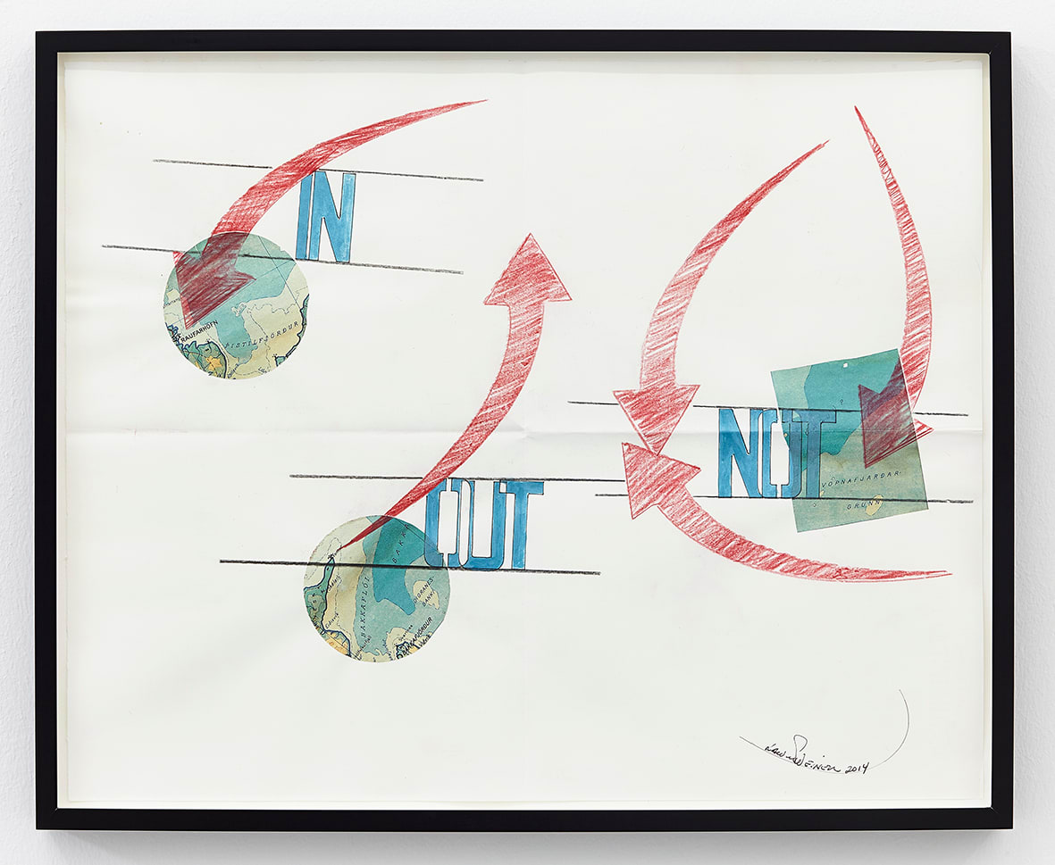 "<span class=""link fancybox-details-link""><a href=""/artists/44-lawrence-weiner/works/10551/"">View Detail Page</a></span><div class=""artist""><strong>LAWRENCE WEINER</strong></div> <div class=""title""><em>Out</em>, 2014</div> <div class=""medium"">faber-castell pencil, gouache, Icelandic map pasted on folded archival paper</div> <div class=""dimensions"">paper: 41 x 52cm<br /> framed: 44.5 x 54.5 x 3.8cm</div>"