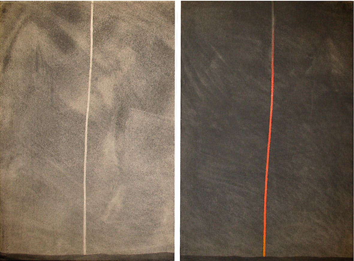 """<span class=""""link fancybox-details-link""""><a href=""""/exhibitions/109/works/artworks4775/"""">View Detail Page</a></span><div class=""""artist""""><strong> Anthony Mccall</strong></div><div class=""""title""""><em>Diptych Study for Projected Column II (Day/Cloud, Night/Fire)</em>, 2009</div><div class=""""signed_and_dated"""">signed and dated by the artist, verso</div><div class=""""medium"""">graphite wash, oil pastel on paper</div><div class=""""dimensions"""">paper: 29 5/8 x 21 1/4 inches (75.2 x 54 cm) each</div>"""