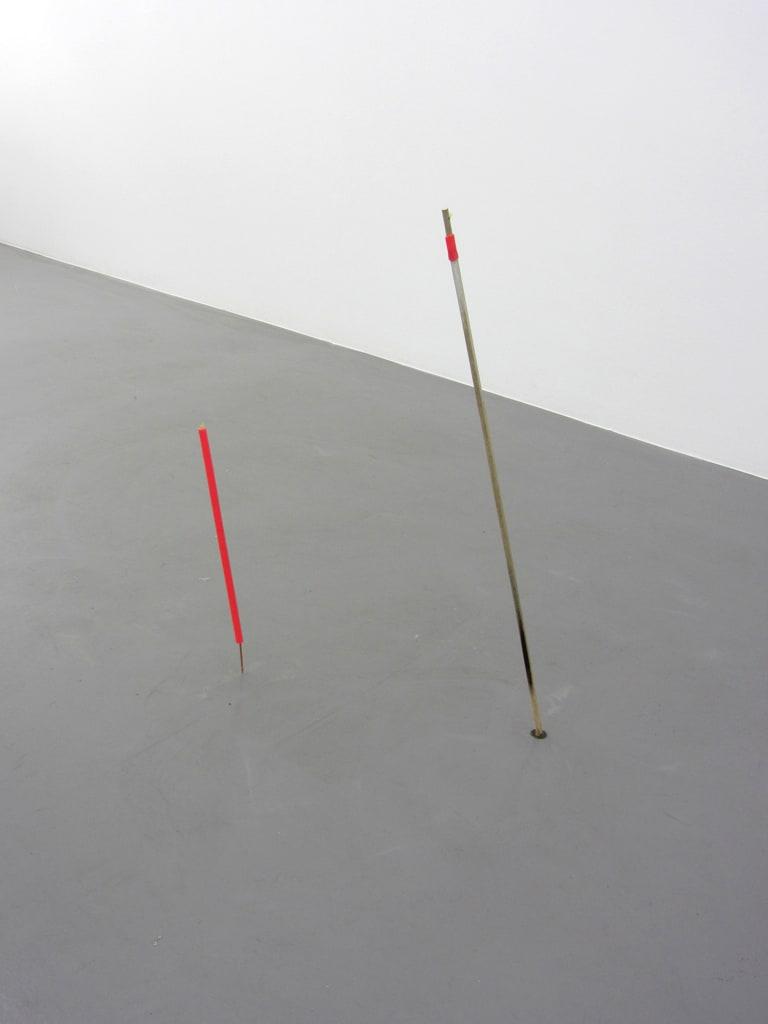 "<span class=""link fancybox-details-link""><a href=""/exhibitions/125/works/artworks9626/"">View Detail Page</a></span><div class=""artist""><strong>MARGRÉT H. BLÖNDAL</strong></div><div class=""title""><em>Untitled (watercolour, sticks, holes, plastic)</em>, 2012</div><div class=""medium"">mixed media</div><div class=""dimensions"">Two sticks,<br>Longer: 85 cm long, 11,5 cm from wall<br>Shorter: 77 cm long, 10,7 cm from wall</div>"