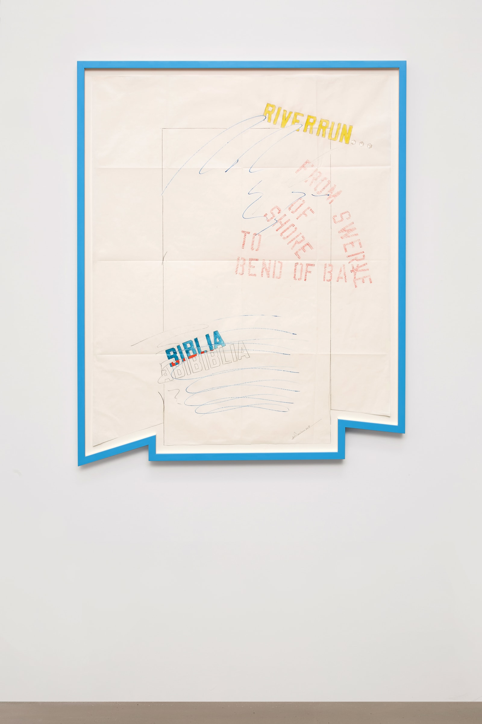 "<span class=""link fancybox-details-link""><a href=""/artists/44-lawrence-weiner/works/14618/"">View Detail Page</a></span><div class=""artist""><strong>LAWRENCE WEINER</strong></div> <div class=""title""><em>Finnegan's Wake</em>, 2017</div> <div class=""medium"">faber castel-pencil, gouache on folded and cut archival paper</div> <div class=""dimensions"">101 x 81 cm<br /> Framed: 110,5 x 89 x 4,4 cm </div>"