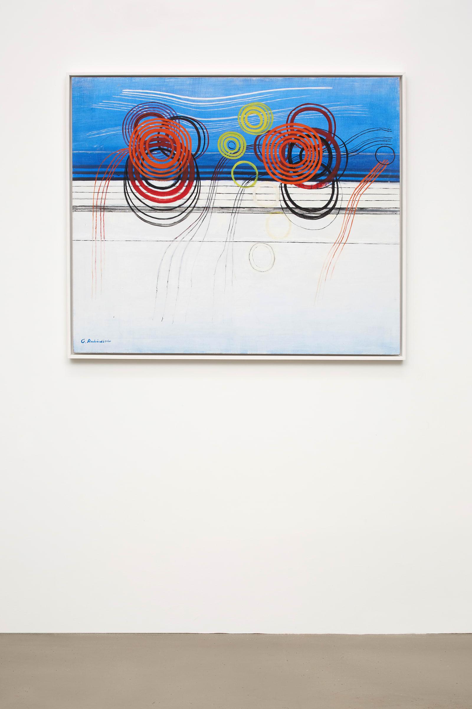 "<span class=""link fancybox-details-link""><a href=""/exhibitions/163/works/artworks14728/"">View Detail Page</a></span><div class=""artist""><strong>Guðmunda Andrésdóttir</strong></div><div class=""title""><em>Án titils</em>, 1971-1972</div><div class=""signed_and_dated"">signed on front</div><div class=""medium"">oil on canvas</div><div class=""dimensions"">90 x 105,5 cm <br>framed: 93,5 x 107 cm</div>"