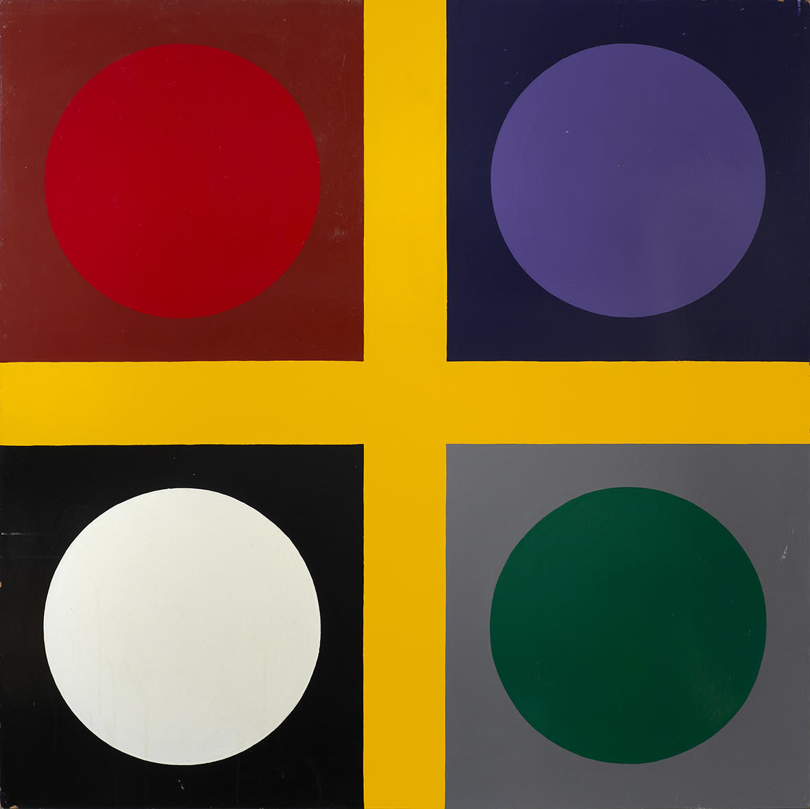 "<span class=""link fancybox-details-link""><a href=""/exhibitions/143/works/artworks11007/"">View Detail Page</a></span><div class=""artist""><strong> Poul Gernes</strong></div><div class=""title""><em>Untitled (tic tac toe painting)</em>, 1967</div><div class=""medium"">enamel paint on masonite</div><div class=""dimensions"">160.0 x 160.0 cm<br>62 15/16 x 62 15/16 in</div>"
