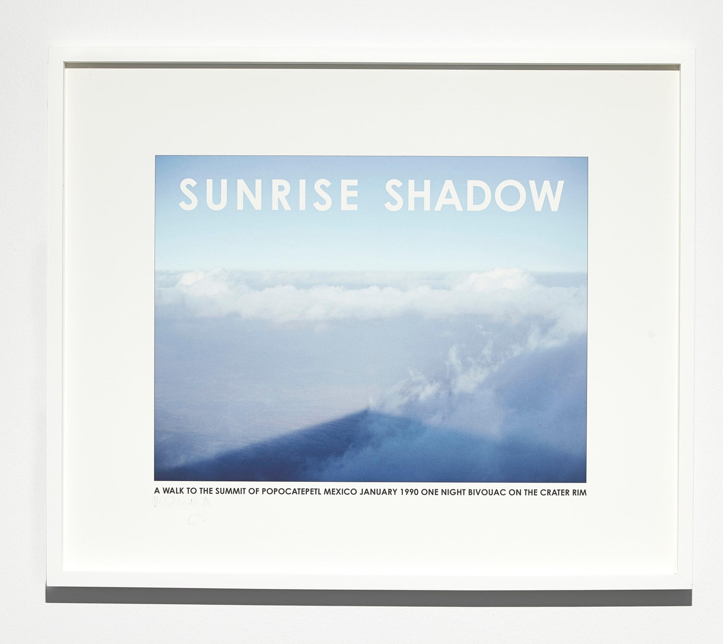 "<span class=""link fancybox-details-link""><a href=""/exhibitions/131/works/artworks9219/"">View Detail Page</a></span><div class=""artist""><strong>HAMISH FULTON</strong></div><div class=""title""><em>Sunrise Shadow Mexico</em>, 1990</div><div class=""medium"">print</div><div class=""dimensions"">44.8 x 53.7 x 4.0 cm<br>17 1/4 x 21 x 1 3/16 in</div><div class=""edition_details"">6/50</div>"