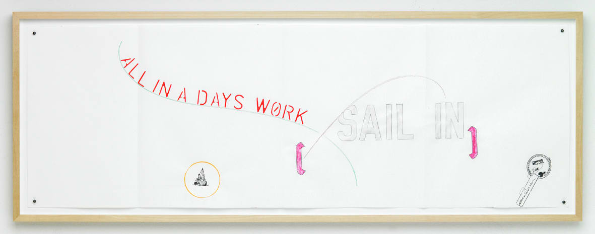 "<span class=""link fancybox-details-link""><a href=""/exhibitions/111/works/artworks5709/"">View Detail Page</a></span><div class=""artist""><strong>LAWRENCE WEINER</strong></div><div class=""title""><em>Sail In - All in a Days Work</em>, 2010</div><div class=""signed_and_dated"">signed front, bottom right</div><div class=""medium"">pencil and mixed media on paper</div><div class=""dimensions"">29.2 x 80.1 cm<br>11 1/2 x 31 1/2 in</div>"