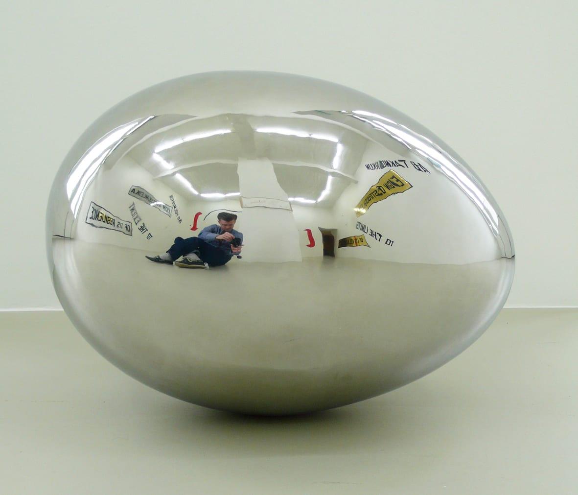 "<span class=""link fancybox-details-link""><a href=""/artists/30-sigurur-gumundsson/works/5776/"">View Detail Page</a></span><div class=""artist""><strong>SIGURÐUR GUÐMUNDSSON</strong></div> <div class=""title""><em>Untitled (egg)</em>, 2009</div> <div class=""medium"">stainless steel</div> <div class=""dimensions"">height: 34 cm<br />width: 49 cm<br />perimeter: 110 cm</div>"
