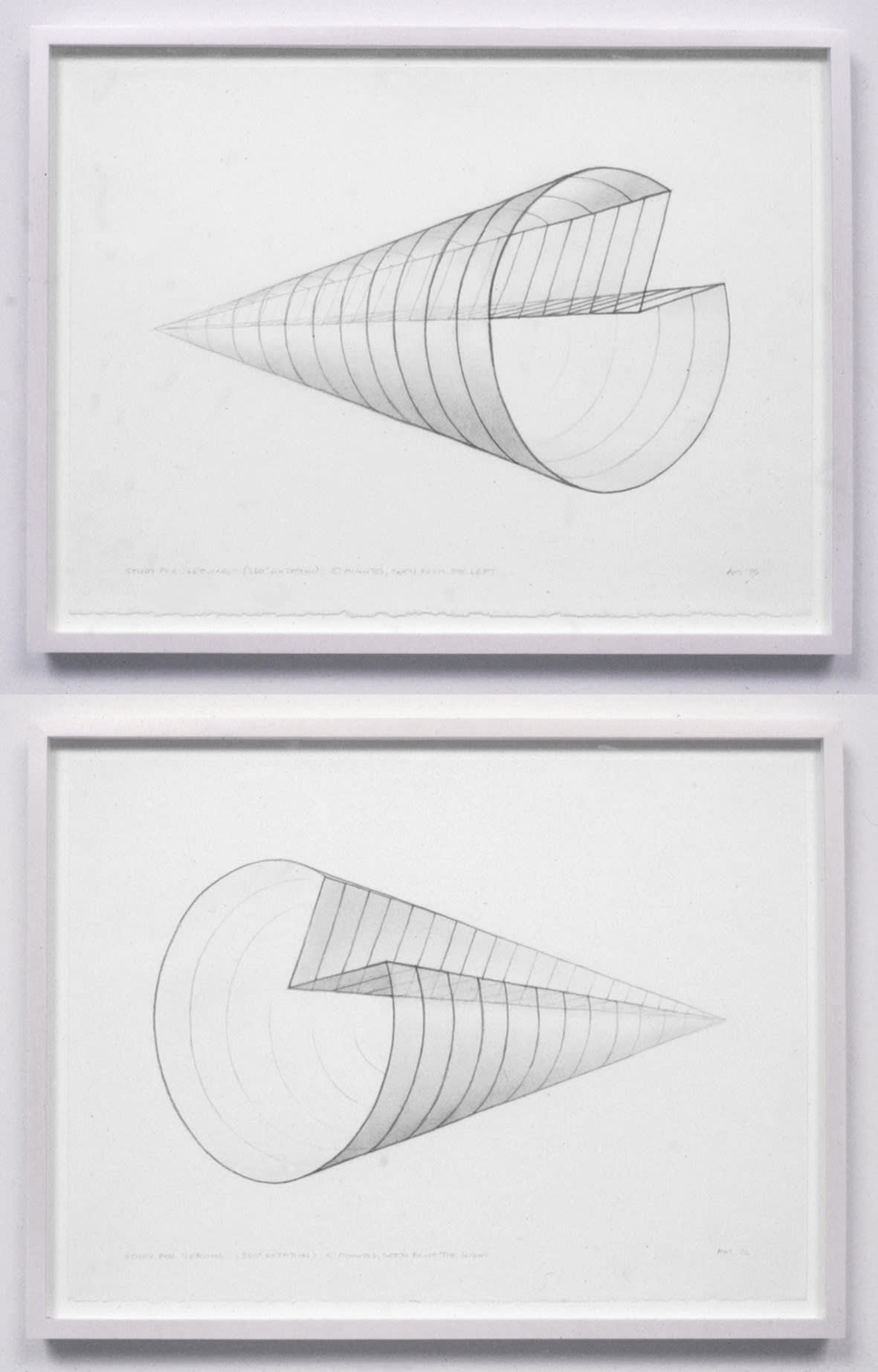 """<span class=""""link fancybox-details-link""""><a href=""""/exhibitions/109/works/artworks4774/"""">View Detail Page</a></span><div class=""""artist""""><strong>Anthony Mccall</strong></div><div class=""""title""""><em>Study for """"Leaving"""" (360º rotation) 10 minutes seen from left and right</em>, 2006</div><div class=""""signed_and_dated"""">titled, signed and dated, recto</div><div class=""""medium"""">pair of pencil drawings on paper</div><div class=""""dimensions"""">paper: 12 1/2 x 17 inches (31.8 x 43.2 cm) each<br>framed: 14 1/8 x 18 1/8 inches (35.9 x 46 cm) each</div>"""
