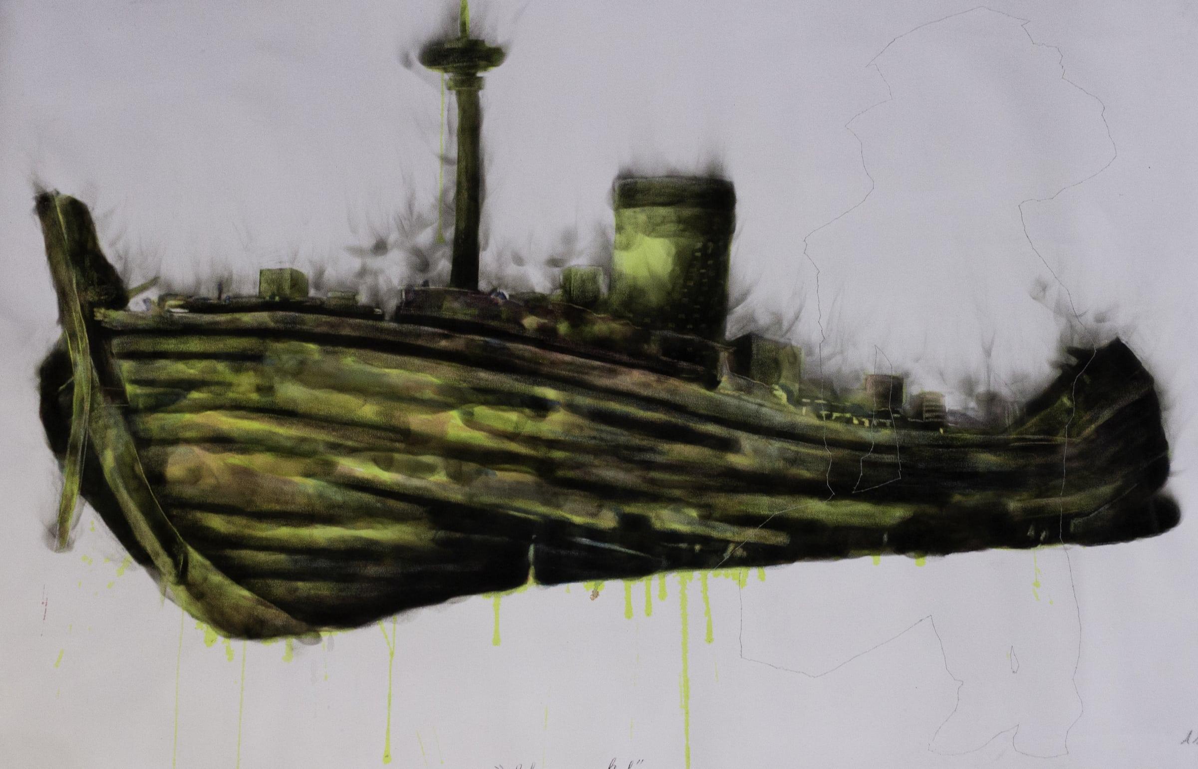 <span class=&#34;link fancybox-details-link&#34;><a href=&#34;/artists/54-azael-langa/works/3298-azael-langa-shipwrecked-2019/&#34;>View Detail Page</a></span><div class=&#34;artist&#34;><strong>Azael Langa</strong></div> <div class=&#34;title&#34;><em>Shipwrecked</em>, 2019</div> <div class=&#34;medium&#34;>Smoke, Ink And String On Canvas</div> <div class=&#34;dimensions&#34;>119cm x 162cm (138.5cm x 181.5cm framed)</div>