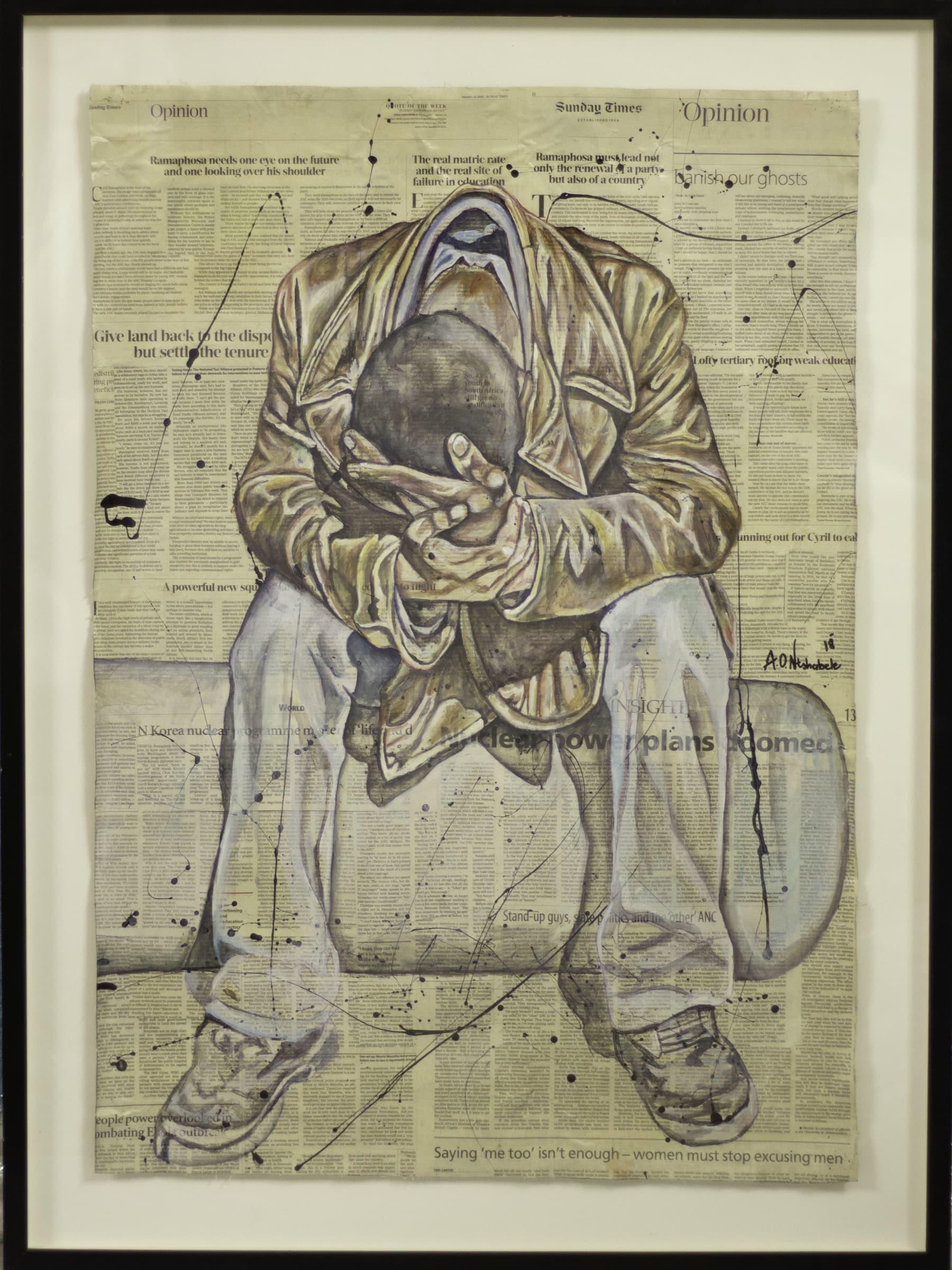 <span class=&#34;link fancybox-details-link&#34;><a href=&#34;/artworks/3075-andrew-ntshabele-contemplation-2018/&#34;>View Detail Page</a></span><div class=&#34;artist&#34;><strong>Andrew Ntshabele</strong></div> <div class=&#34;title&#34;><em>Contemplation</em>, 2018</div> <div class=&#34;medium&#34;>Acrylic & Enamel On Newspaper</div> <div class=&#34;dimensions&#34;>99.5cm x 69.6cm (86.6cm x 116.3cm framed)</div><div class=&#34;price&#34;>R11,555.00</div>