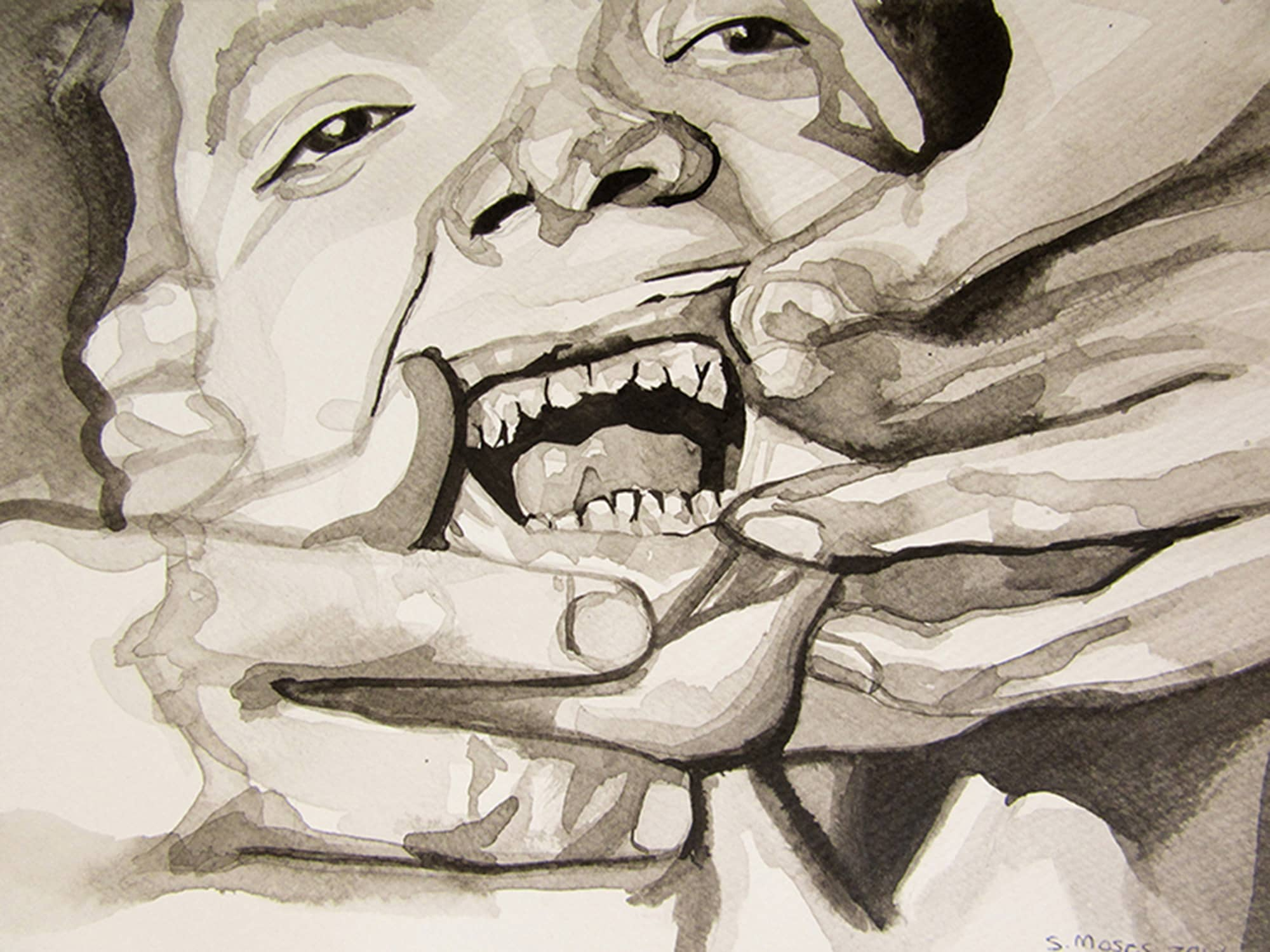 <span class=&#34;link fancybox-details-link&#34;><a href=&#34;/artists/49-sharon-moses/works/2494-sharon-moses-drooling-2018/&#34;>View Detail Page</a></span><div class=&#34;artist&#34;><strong>Sharon Moses</strong></div> <div class=&#34;title&#34;><em>Drooling</em>, 2018</div> <div class=&#34;medium&#34;>Ink On 300Gsm Cold Pressed Acid-Free Paper</div> <div class=&#34;dimensions&#34;>14.8cm x 21cm</div><div class=&#34;price&#34;>R500.00</div>