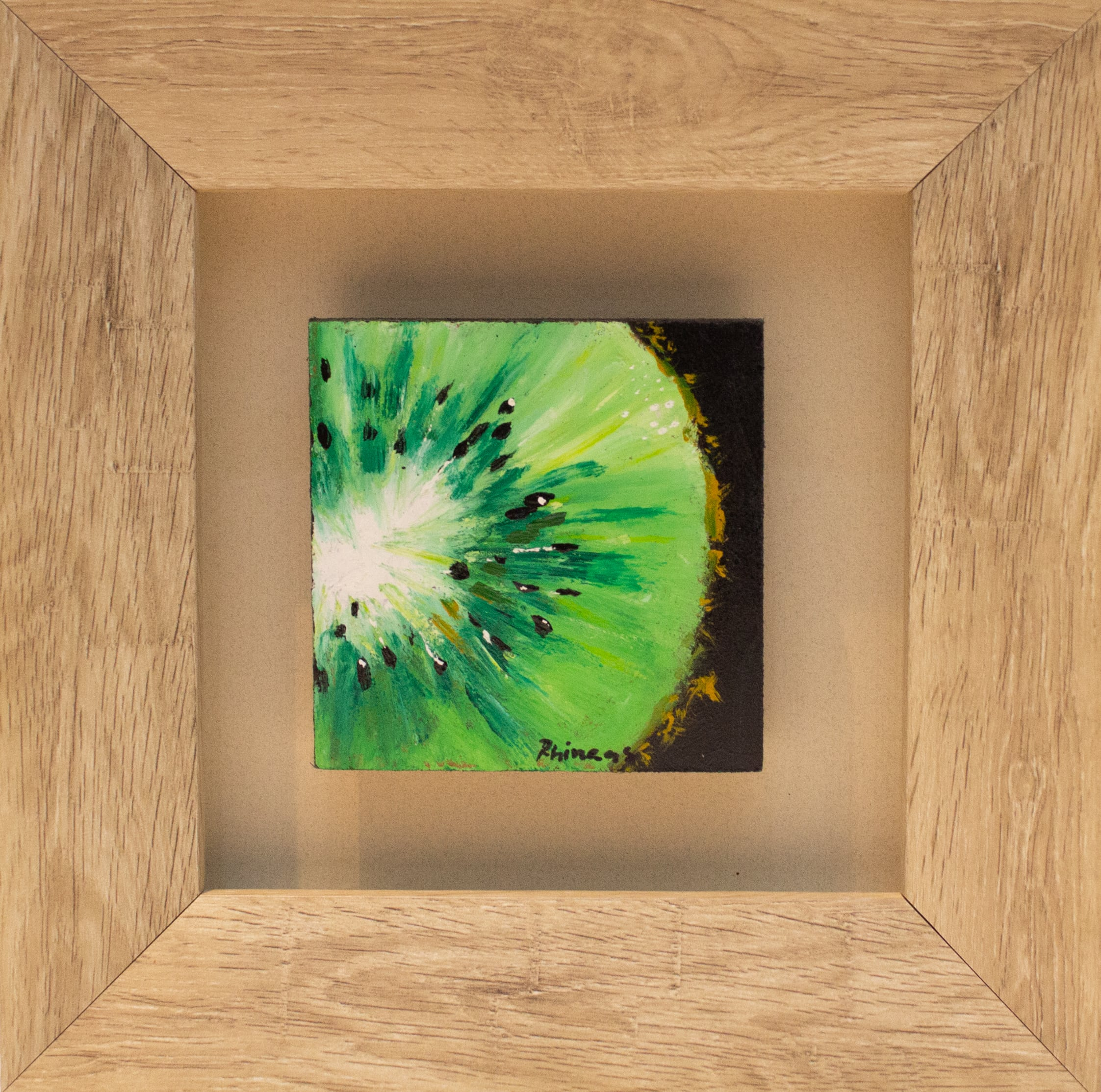 <span class=&#34;link fancybox-details-link&#34;><a href=&#34;/artists/102-phineas-malema/works/2711-phineas-malema-kiwi-fruit-2017/&#34;>View Detail Page</a></span><div class=&#34;artist&#34;><strong>Phineas Malema</strong></div> <div class=&#34;title&#34;><em>Kiwi Fruit</em>, 2017</div> <div class=&#34;medium&#34;>Oil On Board</div> <div class=&#34;dimensions&#34;>24cm x 24cm x 4.5cm</div><div class=&#34;price&#34;>R700.00</div>