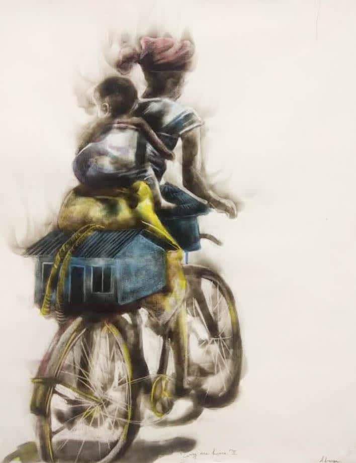 <span class=&#34;link fancybox-details-link&#34;><a href=&#34;/artworks/739-azael-langa-carry-me-home-ii-2018/&#34;>View Detail Page</a></span><div class=&#34;artist&#34;><strong>Azael Langa</strong></div> <div class=&#34;title&#34;><em>Carry Me Home II</em>, 2018</div> <div class=&#34;medium&#34;>Smoke And Ink  On Canvas</div> <div class=&#34;dimensions&#34;>100cm x 79cm (117.5cm x 96cm framed)</div>