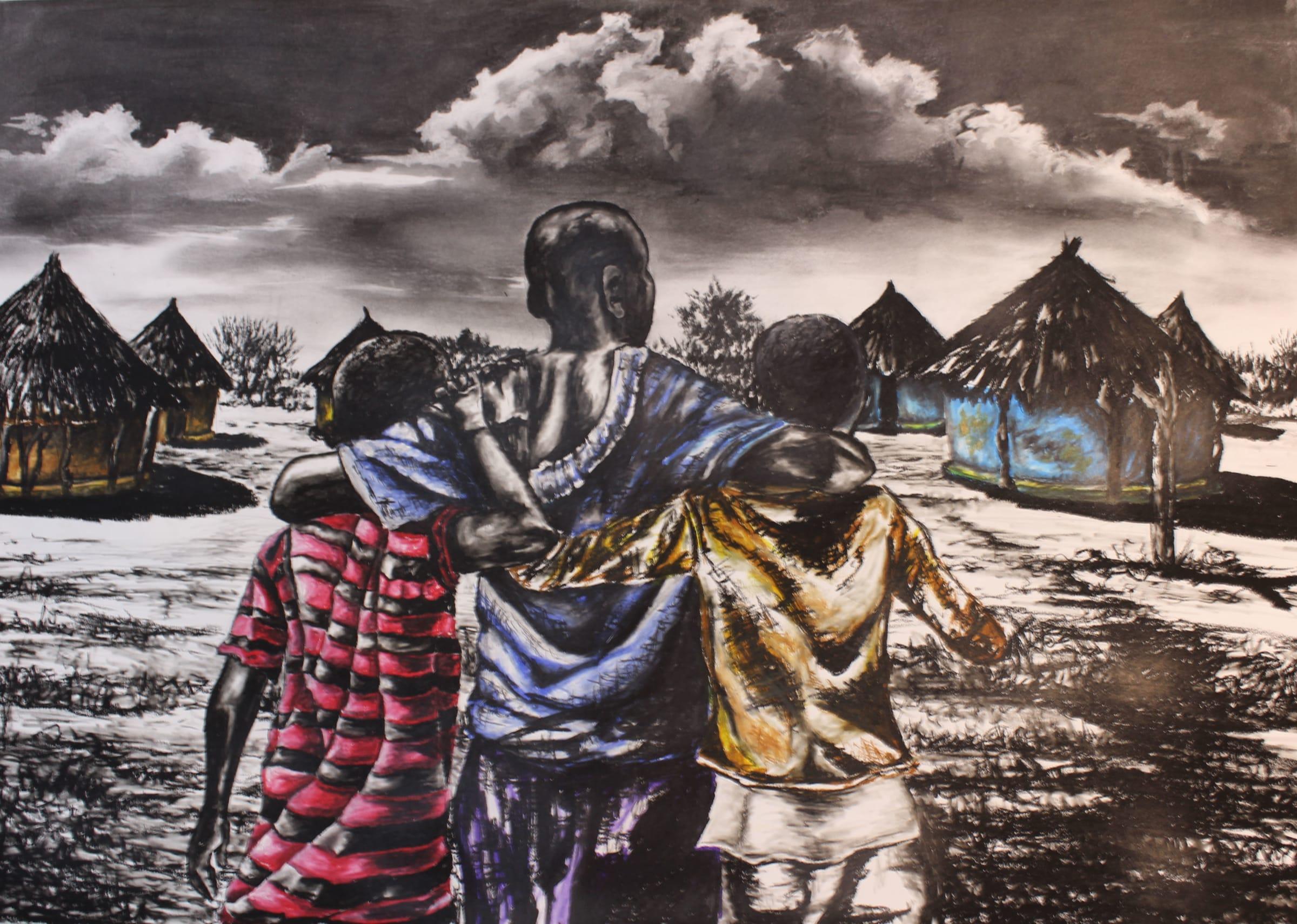 <span class=&#34;link fancybox-details-link&#34;><a href=&#34;/artists/98-walter-fumani-maluleke/works/1570-walter-fumani-maluleke-unity-start-at-home-ntwanano-wu-sanyula-kaya-2018/&#34;>View Detail Page</a></span><div class=&#34;artist&#34;><strong>Walter Fumani Maluleke</strong></div> <div class=&#34;title&#34;><em>Unity Start At Home (Ntwanano Wu Sanyula Kaya)</em>, 2018</div> <div class=&#34;medium&#34;>Charcoal & Pastels On Fabriano</div> <div class=&#34;dimensions&#34;>118.5cm x 84.5cm (137cm x 102.5cm framed)</div>