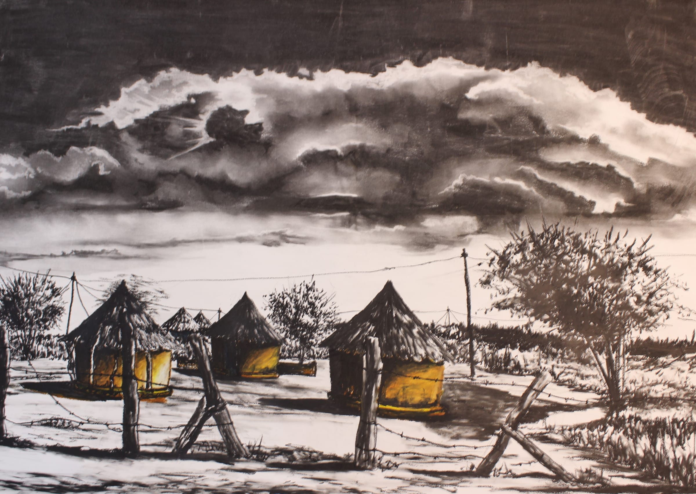 <span class=&#34;link fancybox-details-link&#34;><a href=&#34;/artists/98-walter-fumani-maluleke/works/1566-walter-fumani-maluleke-home-is-home-kaya-hile-kaya-2018/&#34;>View Detail Page</a></span><div class=&#34;artist&#34;><strong>Walter Fumani Maluleke</strong></div> <div class=&#34;title&#34;><em>Home Is Home ( Kaya Hile Kaya )</em>, 2018</div> <div class=&#34;medium&#34;>Charcoal On Frabriano Paper</div> <div class=&#34;dimensions&#34;>100cm x 81cm (113.5cm x 95cm framed)</div>