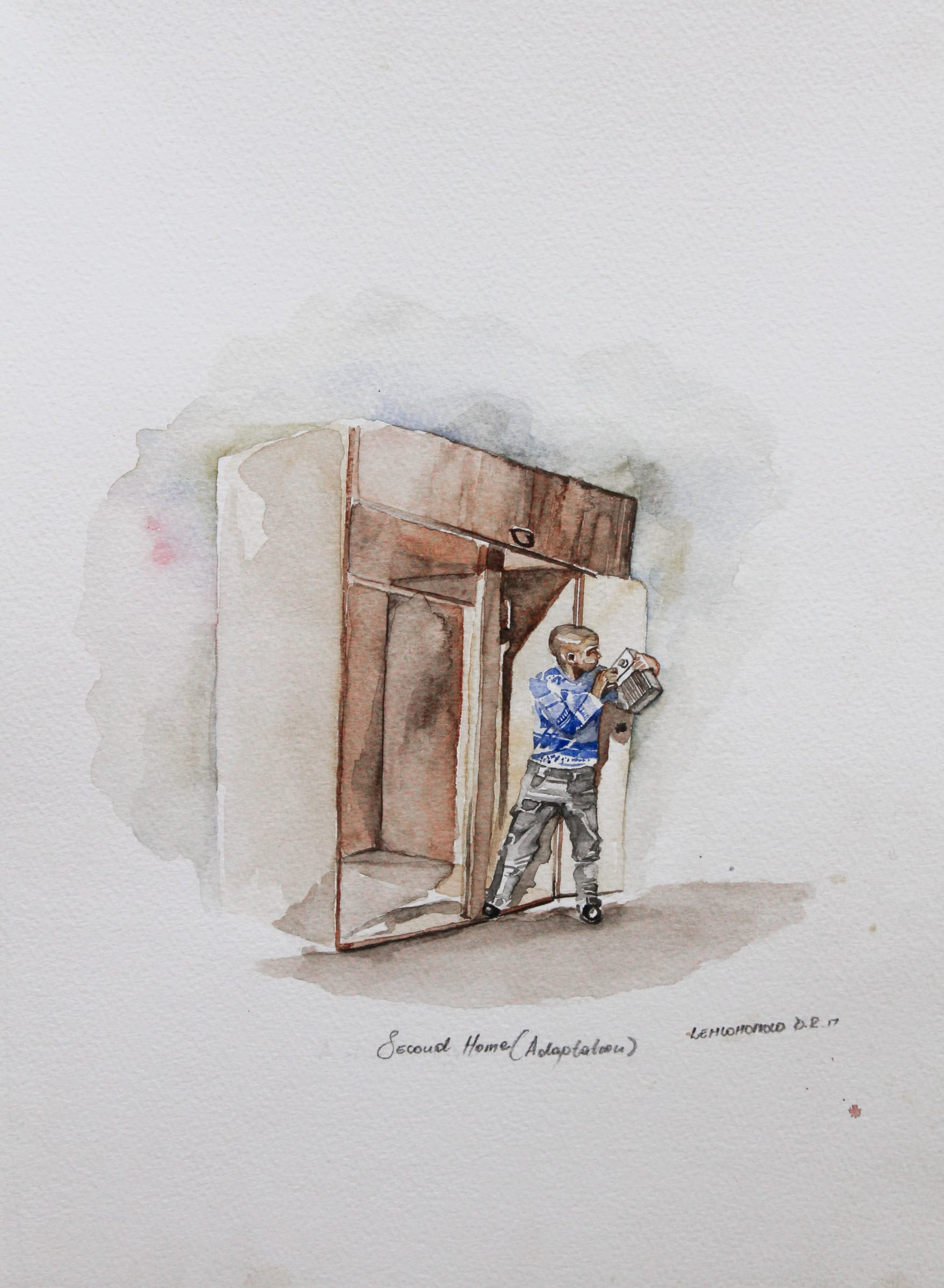 <span class=&#34;link fancybox-details-link&#34;><a href=&#34;/artists/34-lehlohonolo-dhlamini/works/1467-lehlohonolo-dhlamini-second-home-adaptation-2017/&#34;>View Detail Page</a></span><div class=&#34;artist&#34;><strong>Lehlohonolo Dhlamini</strong></div> <div class=&#34;title&#34;><em>Second Home (Adaptation)</em>, 2017</div> <div class=&#34;medium&#34;>Watercolour On Paper</div> <div class=&#34;dimensions&#34;>37.5cm x 27.5cm</div><div class=&#34;price&#34;>R2,160.00</div>