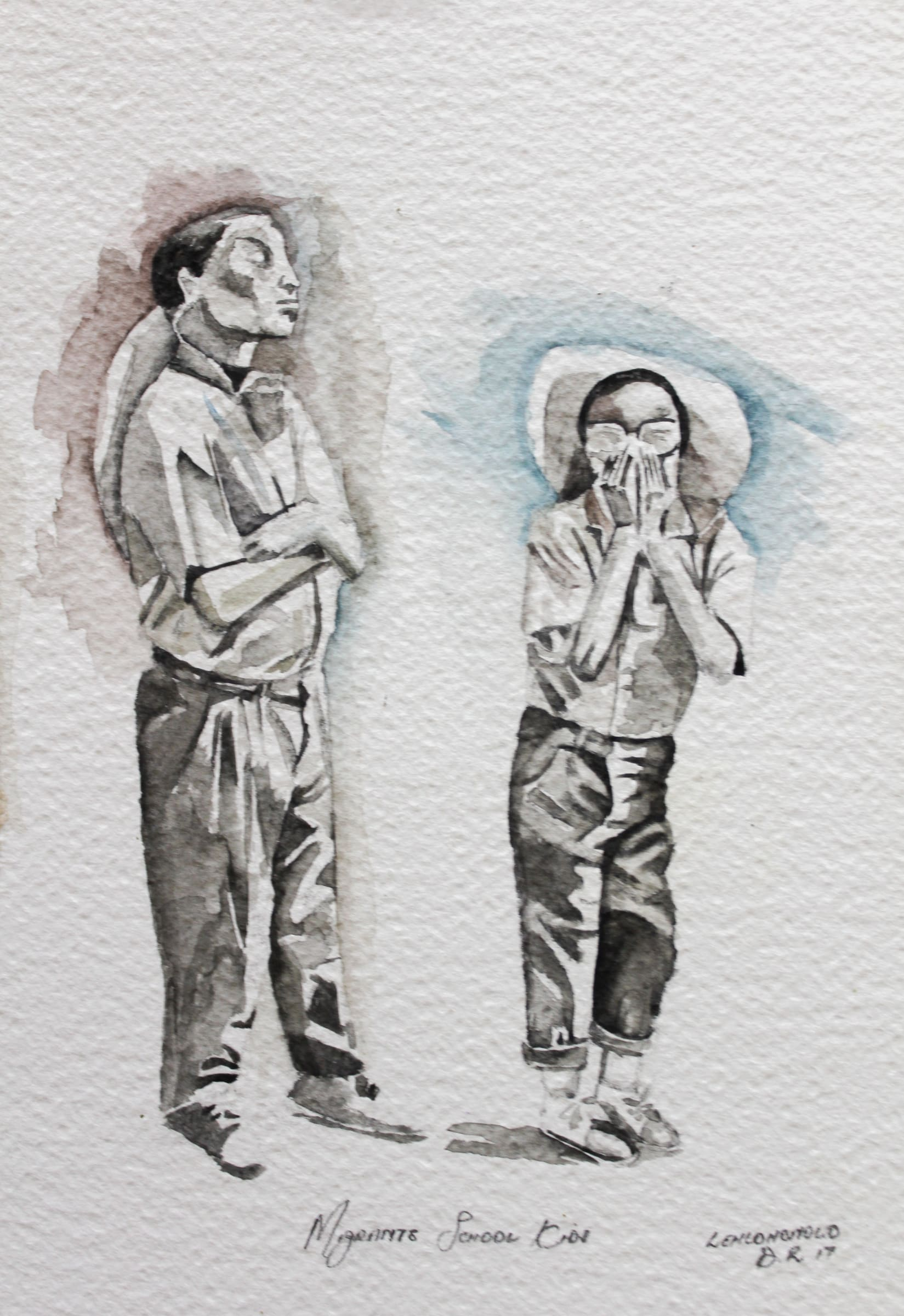 <span class=&#34;link fancybox-details-link&#34;><a href=&#34;/artists/34-lehlohonolo-dhlamini/works/1464-lehlohonolo-dhlamini-migrants-school-kids-2017/&#34;>View Detail Page</a></span><div class=&#34;artist&#34;><strong>Lehlohonolo Dhlamini</strong></div> <div class=&#34;title&#34;><em>Migrants School Kids</em>, 2017</div> <div class=&#34;medium&#34;>Watercolour On Paper</div> <div class=&#34;dimensions&#34;>25cm x 17cm</div><div class=&#34;price&#34;>R840.00</div>