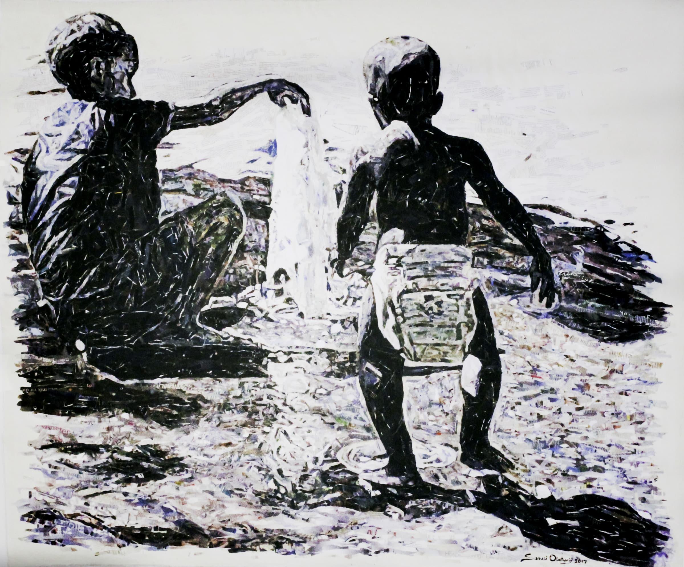 <span class=&#34;link fancybox-details-link&#34;><a href=&#34;/artists/36-olatunji-sanusi/works/1351-olatunji-sanusi-fountain-ii-2017/&#34;>View Detail Page</a></span><div class=&#34;artist&#34;><strong>Olatunji Sanusi</strong></div> <div class=&#34;title&#34;><em>Fountain II</em>, 2017</div> <div class=&#34;medium&#34;>Paper Collage On Canvas </div> <div class=&#34;dimensions&#34;>163cm x 138cm</div><div class=&#34;price&#34;>R65,000.00</div>