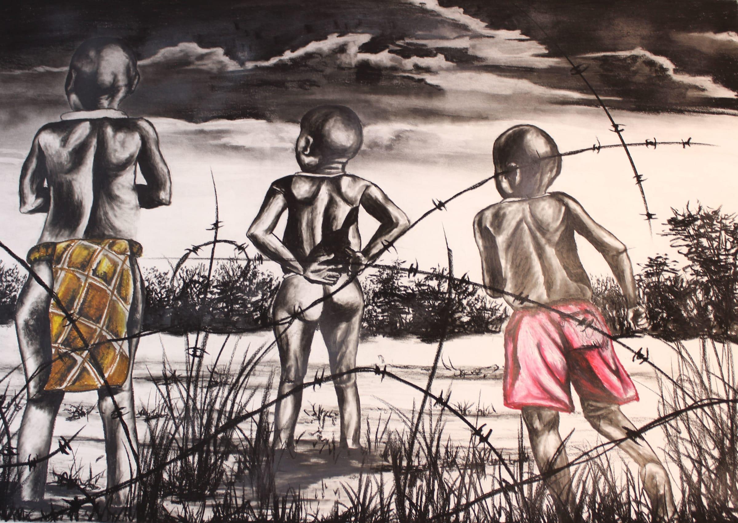 <span class=&#34;link fancybox-details-link&#34;><a href=&#34;/artists/98-walter-fumani-maluleke/works/1565-walter-fumani-maluleke-childhood-inspires-vuhlangi-bya-hlohlotela-2018/&#34;>View Detail Page</a></span><div class=&#34;artist&#34;><strong>Walter Fumani Maluleke </strong></div> <div class=&#34;title&#34;><em>Childhood Inspires (Vuhlangi Bya Hlohlotela)</em>, 2018</div> <div class=&#34;medium&#34;>Charcoal On Fabriano</div> <div class=&#34;dimensions&#34;>118.5cm x 84.5cm (135cm x 101cm framed)</div>