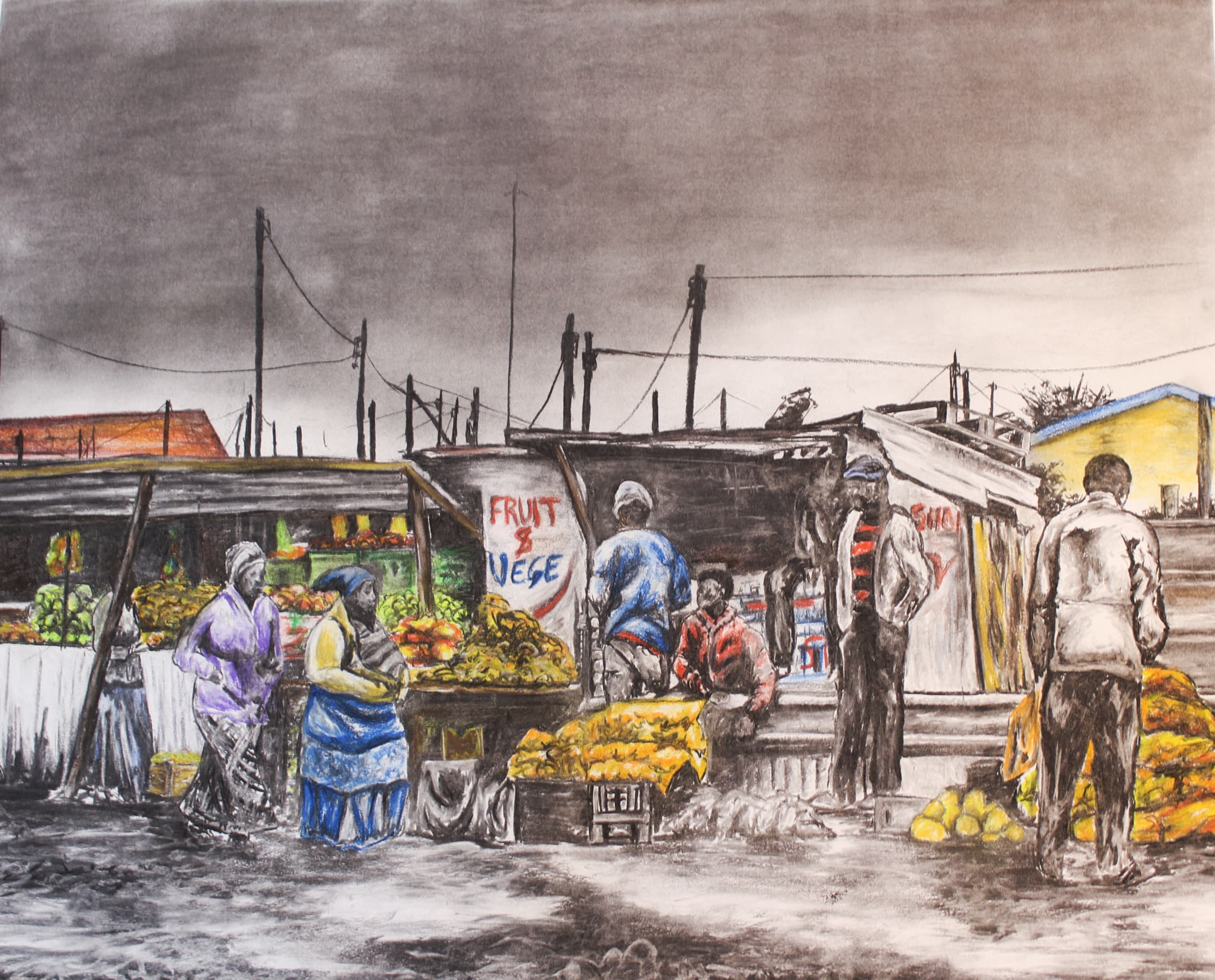 <span class=&#34;link fancybox-details-link&#34;><a href=&#34;/artists/98-walter-fumani-maluleke/works/1573-walter-fumani-maluleke-village-street-market-i-2018/&#34;>View Detail Page</a></span><div class=&#34;artist&#34;><strong>Walter Fumani Maluleke </strong></div> <div class=&#34;title&#34;><em>Village Street Market I</em>, 2018</div> <div class=&#34;medium&#34;>Charcoal On Fabriano</div> <div class=&#34;dimensions&#34;>118.5cm x 84.5cm (137cm x 102.5cm framed)</div><div class=&#34;price&#34;>R12,000.00</div>