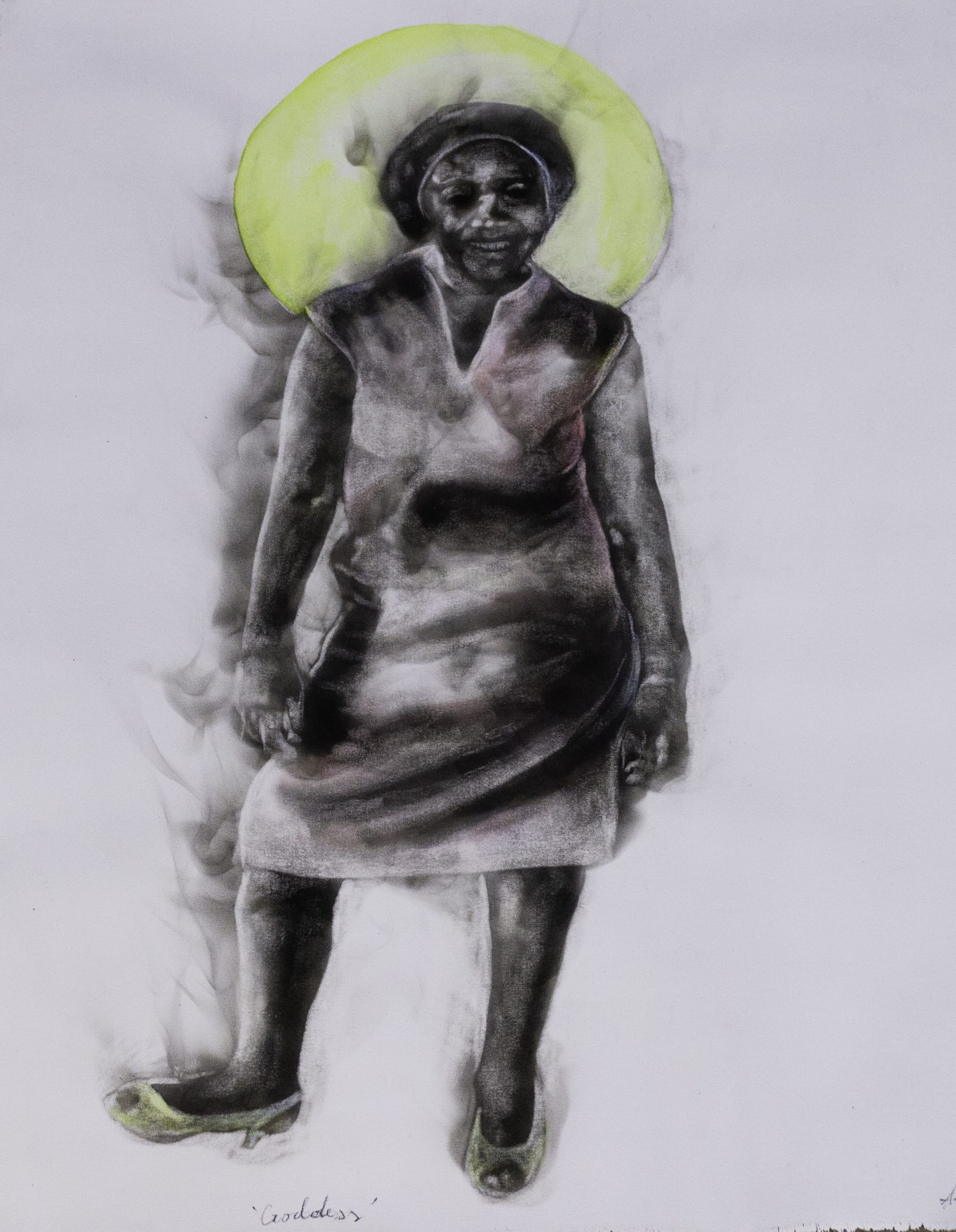 <span class=&#34;link fancybox-details-link&#34;><a href=&#34;/artists/54-azael-langa/works/3299-azael-langa-goddess-2019/&#34;>View Detail Page</a></span><div class=&#34;artist&#34;><strong>Azael Langa</strong></div> <div class=&#34;title&#34;><em>Goddess</em>, 2019</div> <div class=&#34;medium&#34;>Smoke, Ink And String On Canvas</div> <div class=&#34;dimensions&#34;>110cm x 82cm (123.5cm x 95.5cm framed)</div><div class=&#34;price&#34;>R25,600.00</div>