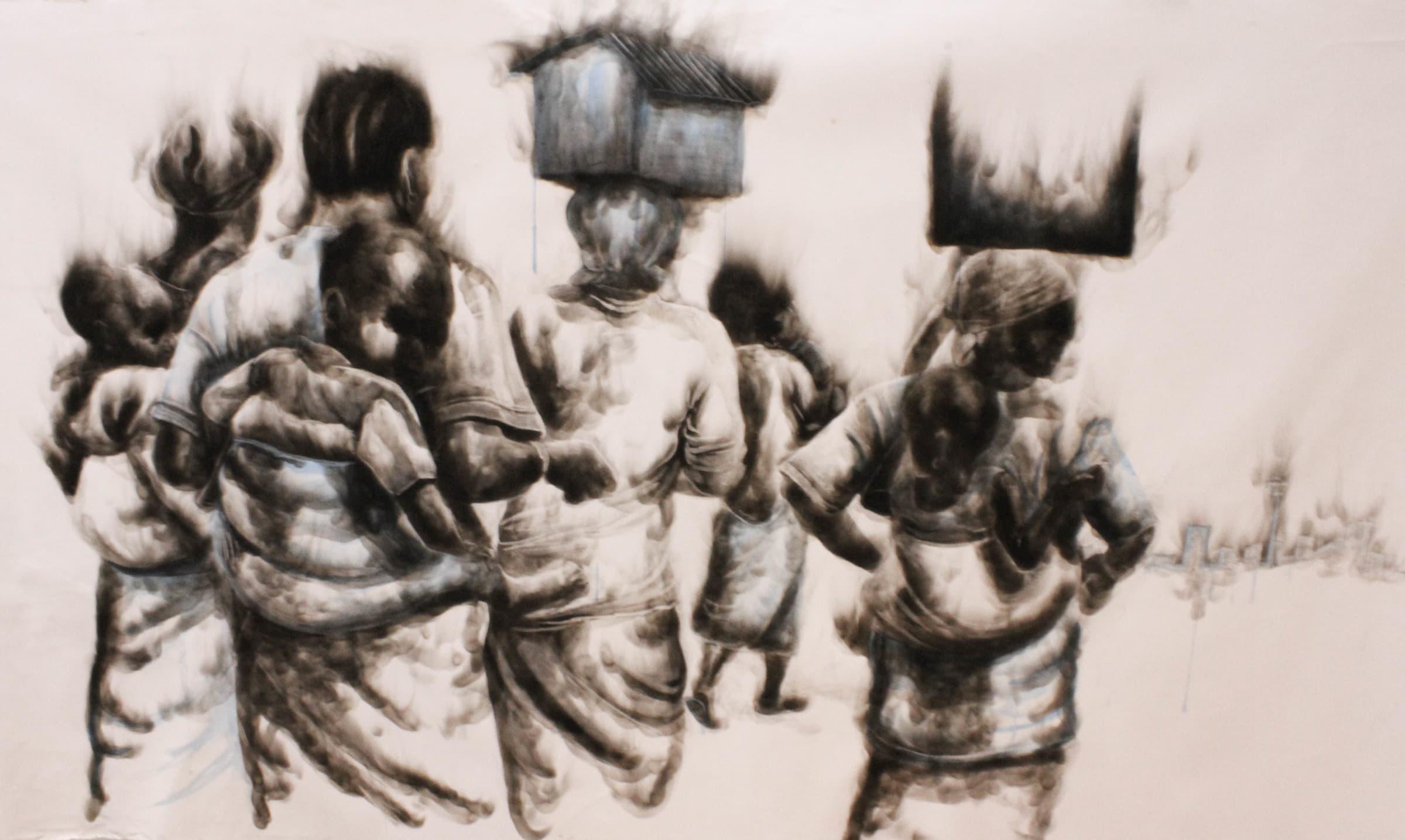 <span class=&#34;link fancybox-details-link&#34;><a href=&#34;/artworks/760-azael-langa-on-the-backs-of-giants-2018/&#34;>View Detail Page</a></span><div class=&#34;artist&#34;><strong>Azael Langa</strong></div> <div class=&#34;title&#34;><em>On The Backs Of Giants</em>, 2018</div> <div class=&#34;medium&#34;>Smoke And Ink On Canvas</div> <div class=&#34;dimensions&#34;>157.5cm x 266cm (180.5cm x 293.5cm framed)</div>