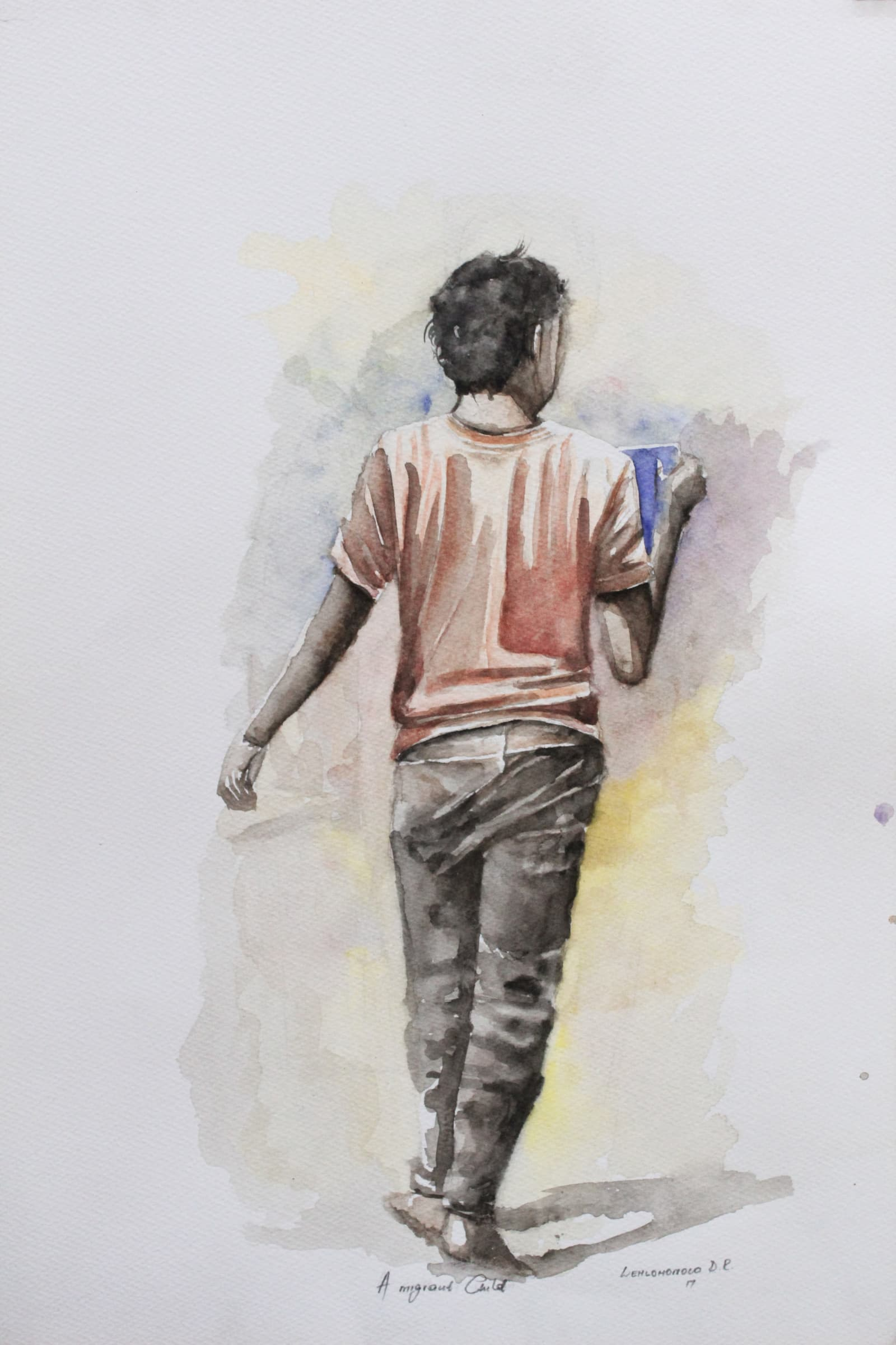 <span class=&#34;link fancybox-details-link&#34;><a href=&#34;/artists/34-lehlohonolo-dhlamini/works/1461-lehlohonolo-dhlamini-a-migrant-child-i-2017/&#34;>View Detail Page</a></span><div class=&#34;artist&#34;><strong>Lehlohonolo Dhlamini</strong></div> <div class=&#34;title&#34;><em>A Migrant Child I</em>, 2017</div> <div class=&#34;medium&#34;>Watercolour On Paper</div> <div class=&#34;dimensions&#34;>55cm x 37.5cm</div><div class=&#34;price&#34;>R4,200.00</div>