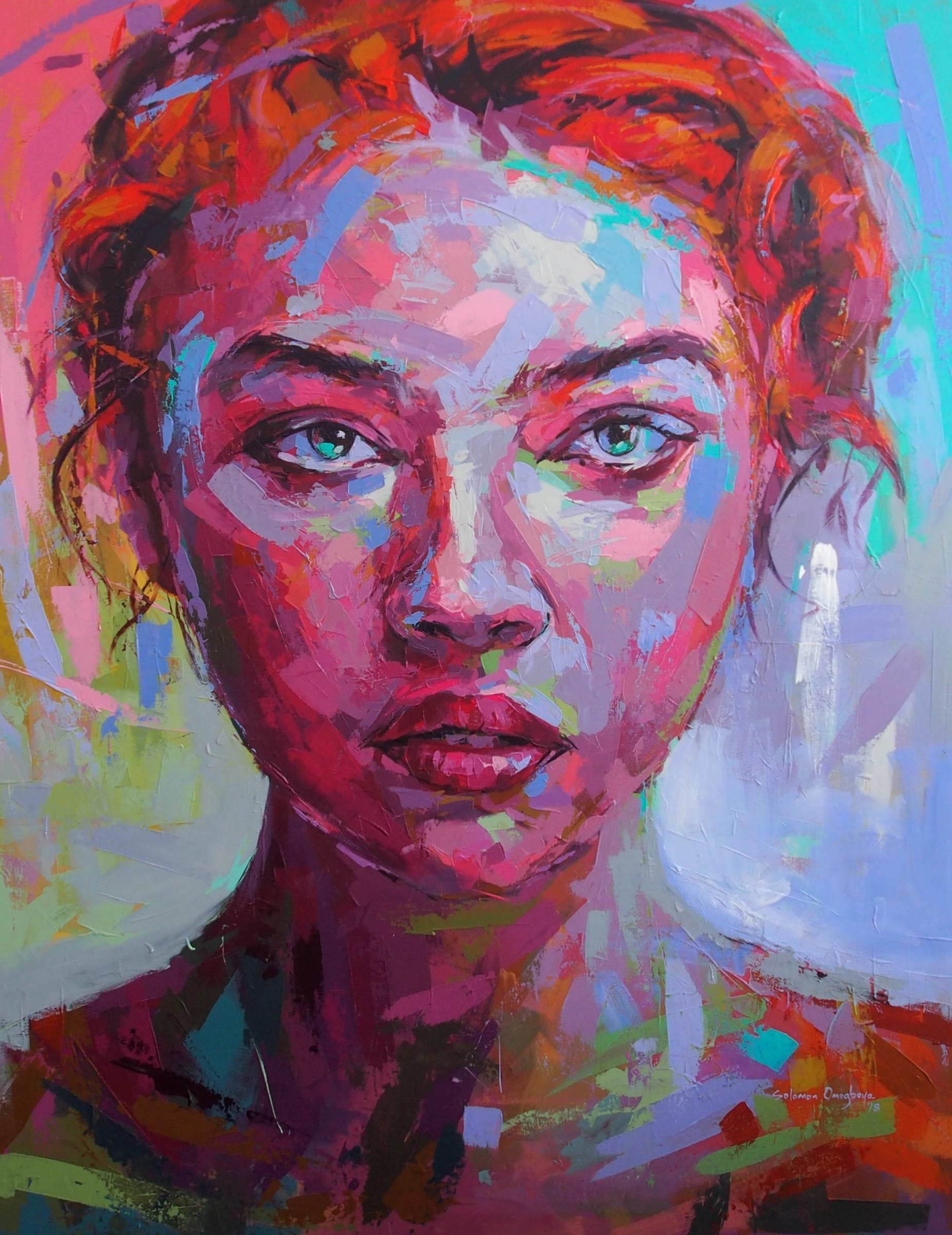 <span class=&#34;link fancybox-details-link&#34;><a href=&#34;/artists/39-solomon-omogboye/works/2020-solomon-omogboye-rainbow-gaze-2018/&#34;>View Detail Page</a></span><div class=&#34;artist&#34;><strong>Solomon Omogboye</strong></div> <div class=&#34;title&#34;><em>Rainbow Gaze</em>, 2018</div> <div class=&#34;medium&#34;>Acrylic On Canvas</div> <div class=&#34;dimensions&#34;>148cm x 194cm</div>