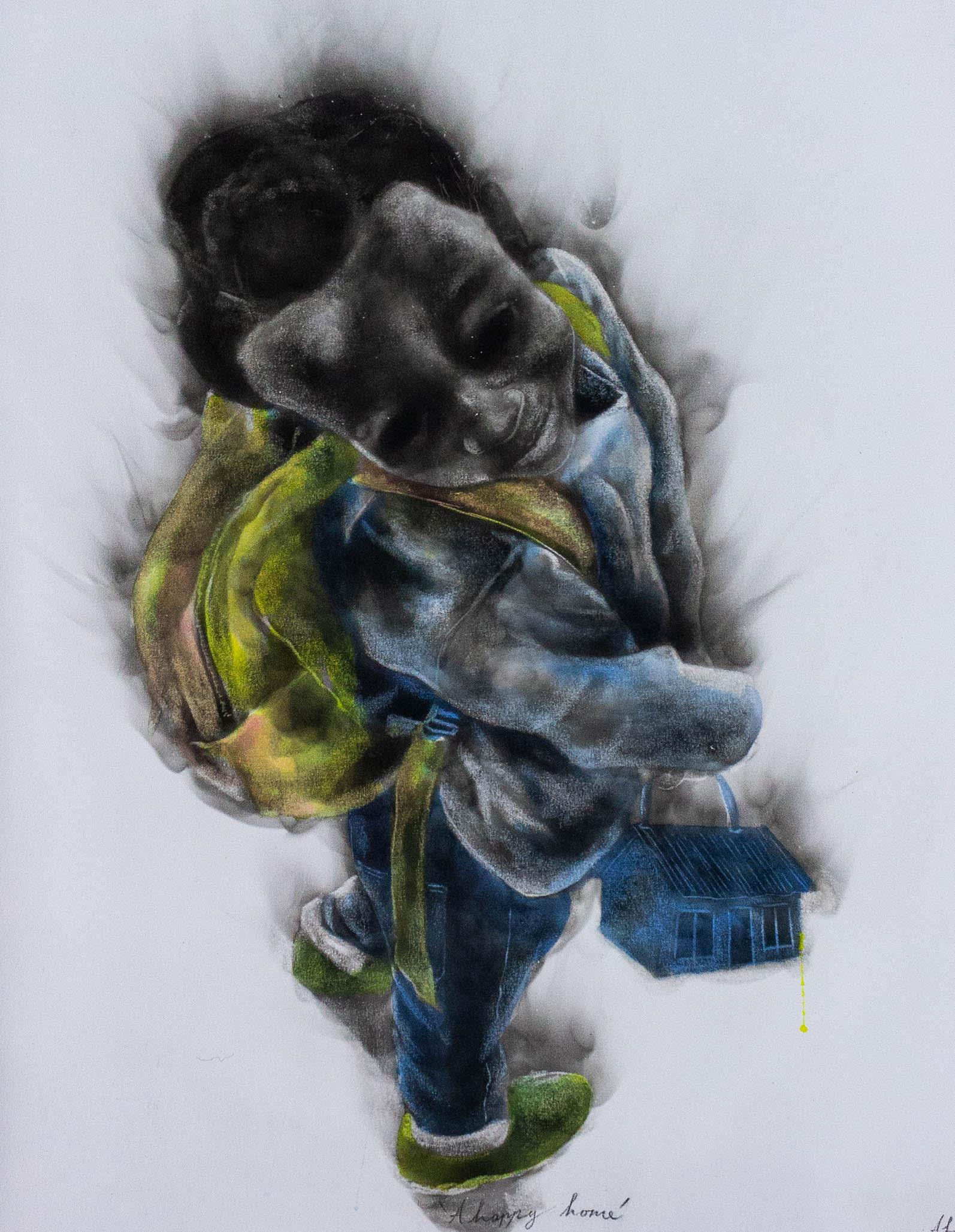 <span class=&#34;link fancybox-details-link&#34;><a href=&#34;/artists/54-azael-langa/works/3303-azael-langa-a-happy-home-2019/&#34;>View Detail Page</a></span><div class=&#34;artist&#34;><strong>Azael Langa</strong></div> <div class=&#34;title&#34;><em>A Happy Home</em>, 2019</div> <div class=&#34;medium&#34;>Smoke And Ink On Canvas</div> <div class=&#34;dimensions&#34;>98cm x 80cm (114.5cm x 94.5cm framed)</div>