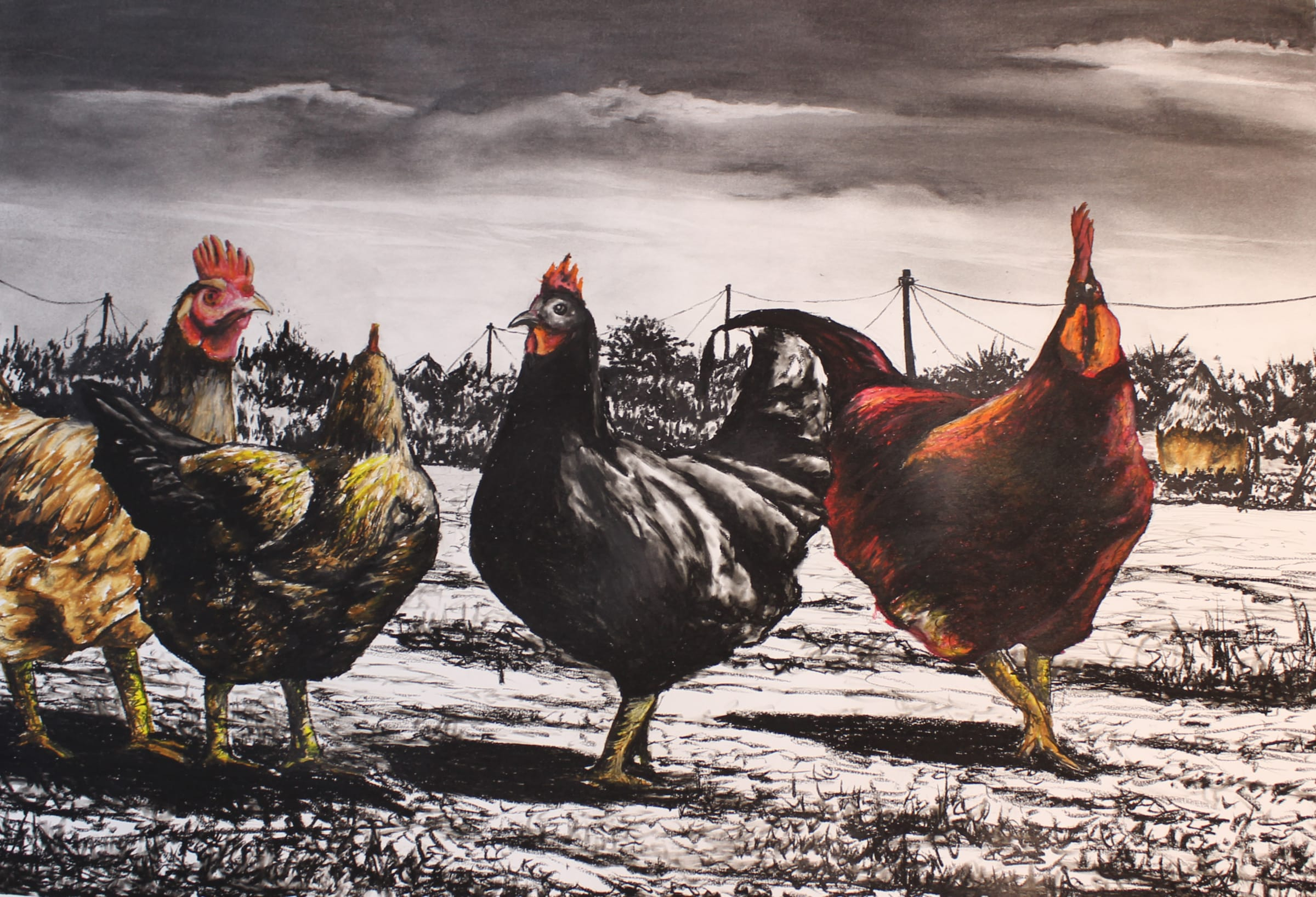 <span class=&#34;link fancybox-details-link&#34;><a href=&#34;/artists/98-walter-fumani-maluleke/works/1572-walter-fumani-maluleke-freely-strong-chicken-village-nkonkoroxi-wuxikaya-2018/&#34;>View Detail Page</a></span><div class=&#34;artist&#34;><strong>Walter Fumani Maluleke</strong></div> <div class=&#34;title&#34;><em>Freely Strong Chicken Village (Nkonkoroxi Wuxikaya)</em>, 2018</div> <div class=&#34;medium&#34;>Charcoal On Frabriano Paper</div> <div class=&#34;dimensions&#34;>118.5cm x 84.5cm (135cm x 101cm framed)</div><div class=&#34;price&#34;>R12,000.00</div>
