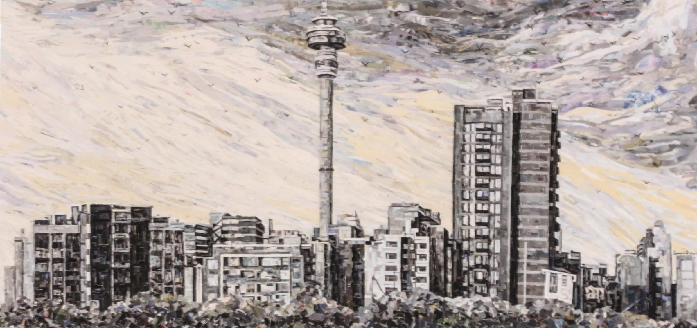 <span class=&#34;link fancybox-details-link&#34;><a href=&#34;/artworks/categories/14/3170-olatunji-sanusi-joburg-skyline-2018/&#34;>View Detail Page</a></span><div class=&#34;artist&#34;><strong>Olatunji Sanusi</strong></div> <div class=&#34;title&#34;><em>Joburg Skyline</em>, 2018</div> <div class=&#34;medium&#34;>Paper Collage On Canvas </div> <div class=&#34;dimensions&#34;>141cm x 300cm</div><div class=&#34;price&#34;>R145,000.00</div>