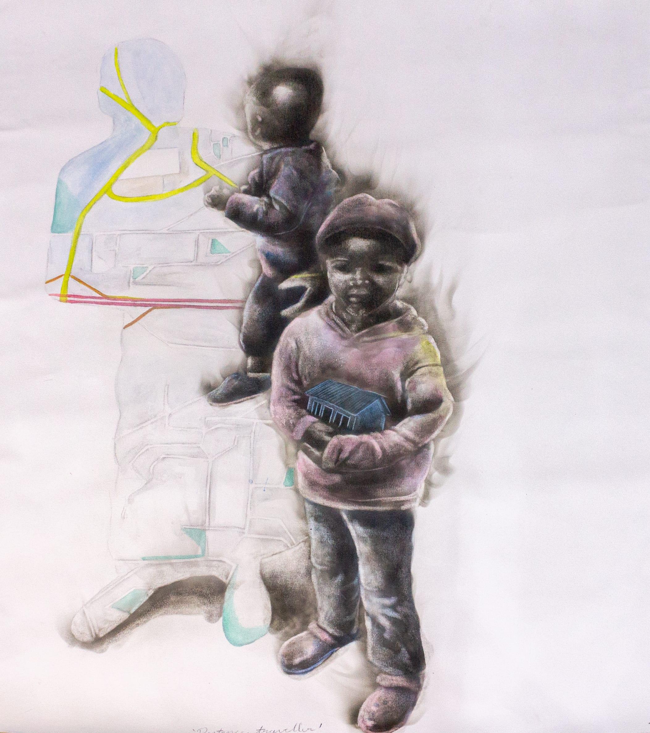 <span class=&#34;link fancybox-details-link&#34;><a href=&#34;/artists/54-azael-langa/works/3295-azael-langa-distance-traveller-2019/&#34;>View Detail Page</a></span><div class=&#34;artist&#34;><strong>Azael Langa</strong></div> <div class=&#34;title&#34;><em>Distance Traveller</em>, 2019</div> <div class=&#34;medium&#34;>Smoke, Ink And String On Canvas</div> <div class=&#34;dimensions&#34;>127cm x 111cm (144.5cm x 128.5cm framed)</div><div class=&#34;price&#34;>R36,000.00</div>
