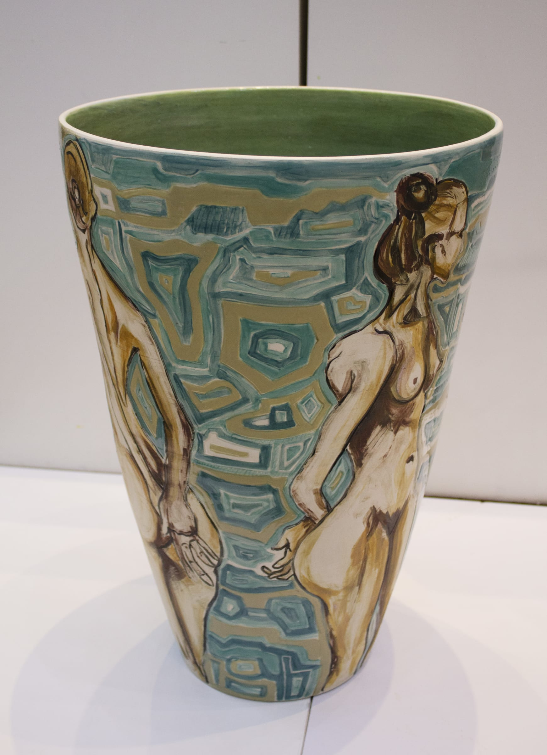 <span class=&#34;link fancybox-details-link&#34;><a href=&#34;/artworks/categories/134/2868-karin-abedian-jenny-2015/&#34;>View Detail Page</a></span><div class=&#34;artist&#34;><strong>Karin Abedian</strong></div> <div class=&#34;title&#34;><em>Jenny</em>, 2015</div> <div class=&#34;medium&#34;>Handthrown earthenware vessel with hand drawn lifedrawing in scraffito with Klimpt inspired glazed decoration in the negative spaces</div> <div class=&#34;dimensions&#34;>53.5 cm x 40 cm x 40 cm</div><div class=&#34;price&#34;>R24,000.00</div>