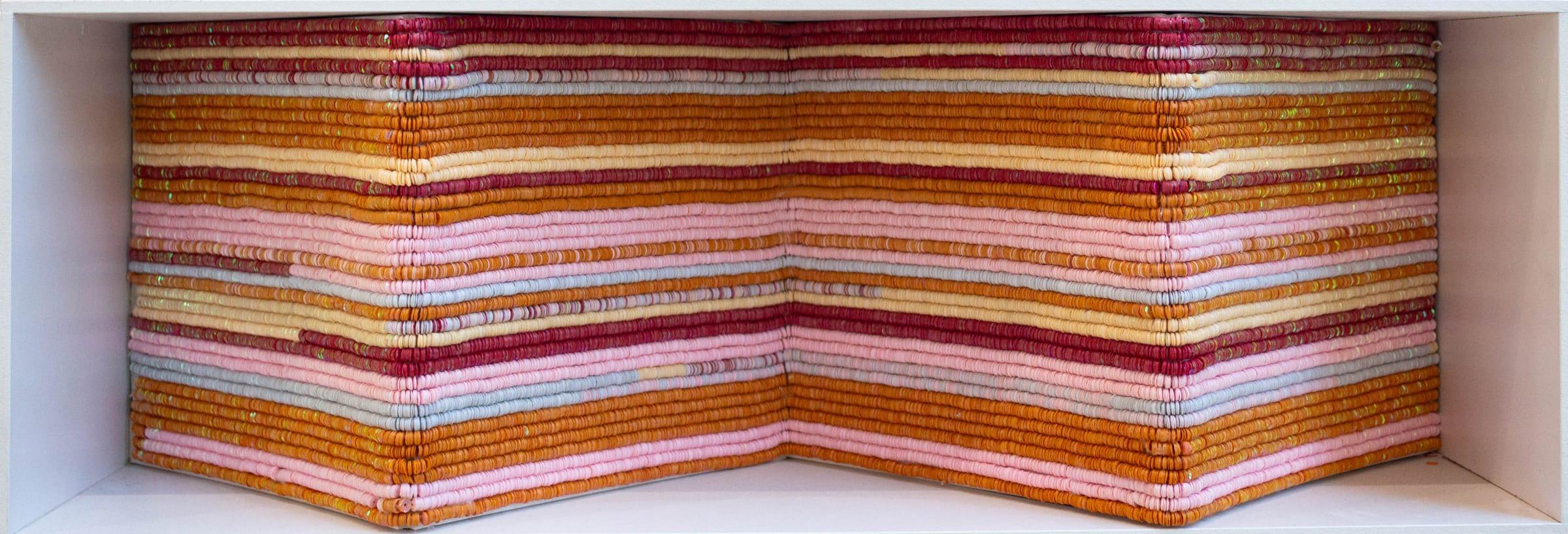 <span class=&#34;link fancybox-details-link&#34;><a href=&#34;/artists/85-leanne-shakenovsky/works/3127-leanne-shakenovsky-waves-ii-2017/&#34;>View Detail Page</a></span><div class=&#34;artist&#34;><strong>Leanne Shakenovsky</strong></div> <div class=&#34;title&#34;><em>Waves II</em>, 2017</div> <div class=&#34;medium&#34;>Sequins, Fishing Line, Foamcore, Wood Glue</div> <div class=&#34;dimensions&#34;>25cm x 75cm</div><div class=&#34;price&#34;>R12,000.00</div>