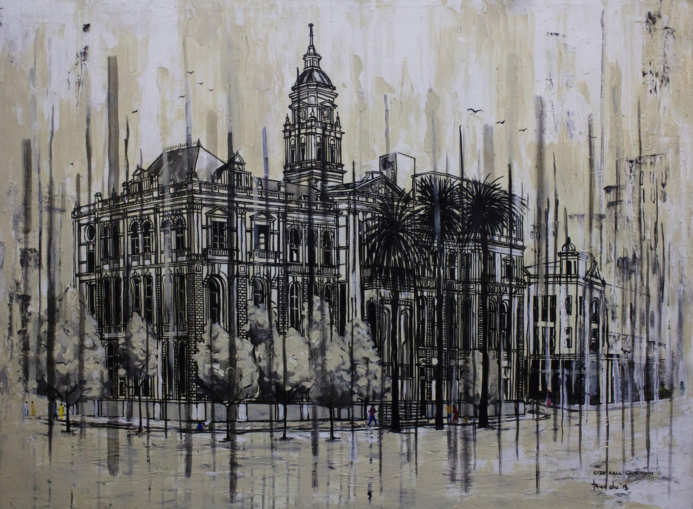 <span class=&#34;link fancybox-details-link&#34;><a href=&#34;/artworks/categories/121/2932-taiwo-ohu-cape-town-city-hall-2018/&#34;>View Detail Page</a></span><div class=&#34;artist&#34;><strong>Taiwo Ohu</strong></div> <div class=&#34;title&#34;><em>Cape Town City Hall</em>, 2018</div> <div class=&#34;medium&#34;>Acrylic On Canvas </div> <div class=&#34;dimensions&#34;>90cm x 120cm</div><div class=&#34;price&#34;>R13,000.00</div>