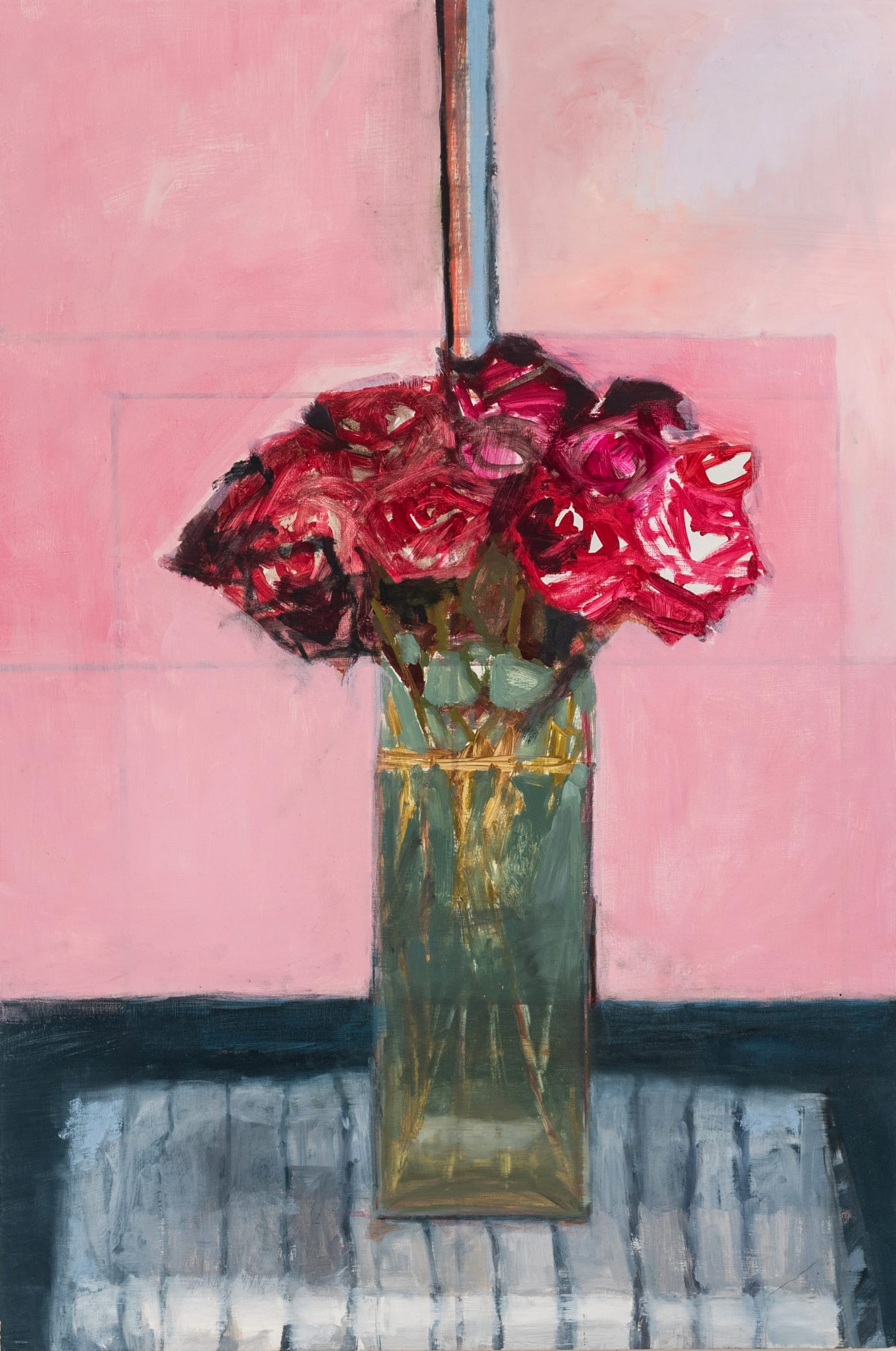 """<span class=""""link fancybox-details-link""""><a href=""""/artists/56-hadas-tal/works/727-hadas-tal-red-roses/"""">View Detail Page</a></span>Hadas Tal   Red Roses   Oil on Wood Panel   30 x 20 inches"""