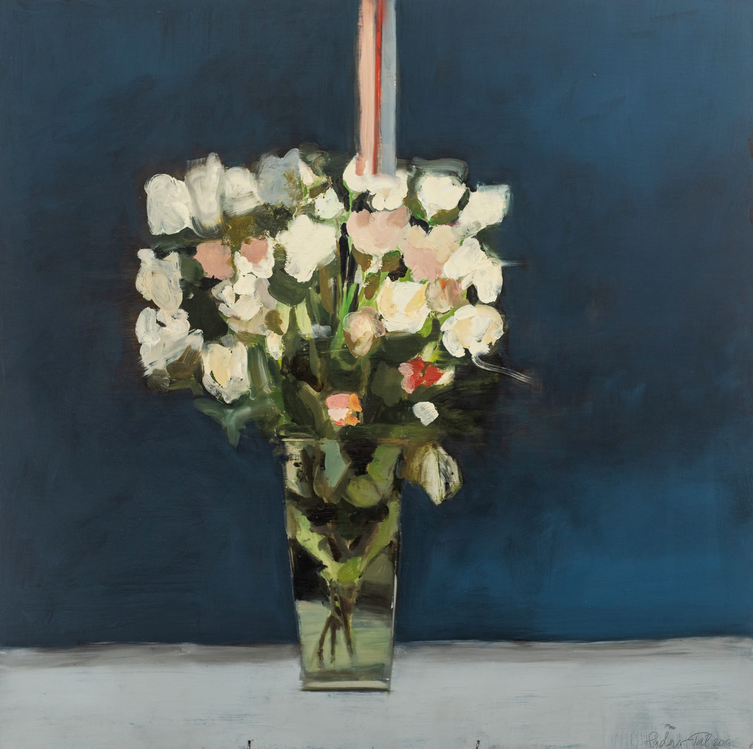 """<span class=""""link fancybox-details-link""""><a href=""""/artists/56-hadas-tal/works/701-hadas-tal-white-roses/"""">View Detail Page</a></span><div class=""""artist""""><strong>Hadas Tal</strong></div> <div class=""""title""""><em>White Roses</em></div> <div class=""""medium"""">Oil on Wood Panel </div> <div class=""""dimensions"""">30 x 30 inches <br /> SOLD</div>"""