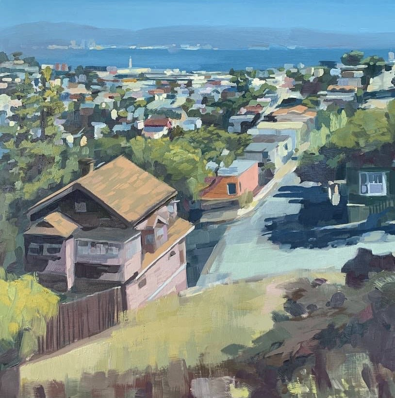 """<span class=""""link fancybox-details-link""""><a href=""""/artists/89-kirsten-tradowsky/works/1385-kirsten-tradowsky-looking-east-from-bernal/"""">View Detail Page</a></span><div class=""""artist""""><strong>Kirsten Tradowsky</strong></div> <div class=""""title""""><em>Looking East from Bernal</em></div> <div class=""""medium"""">Oil on panel</div> <div class=""""dimensions"""">24 x 24 inches</div>"""