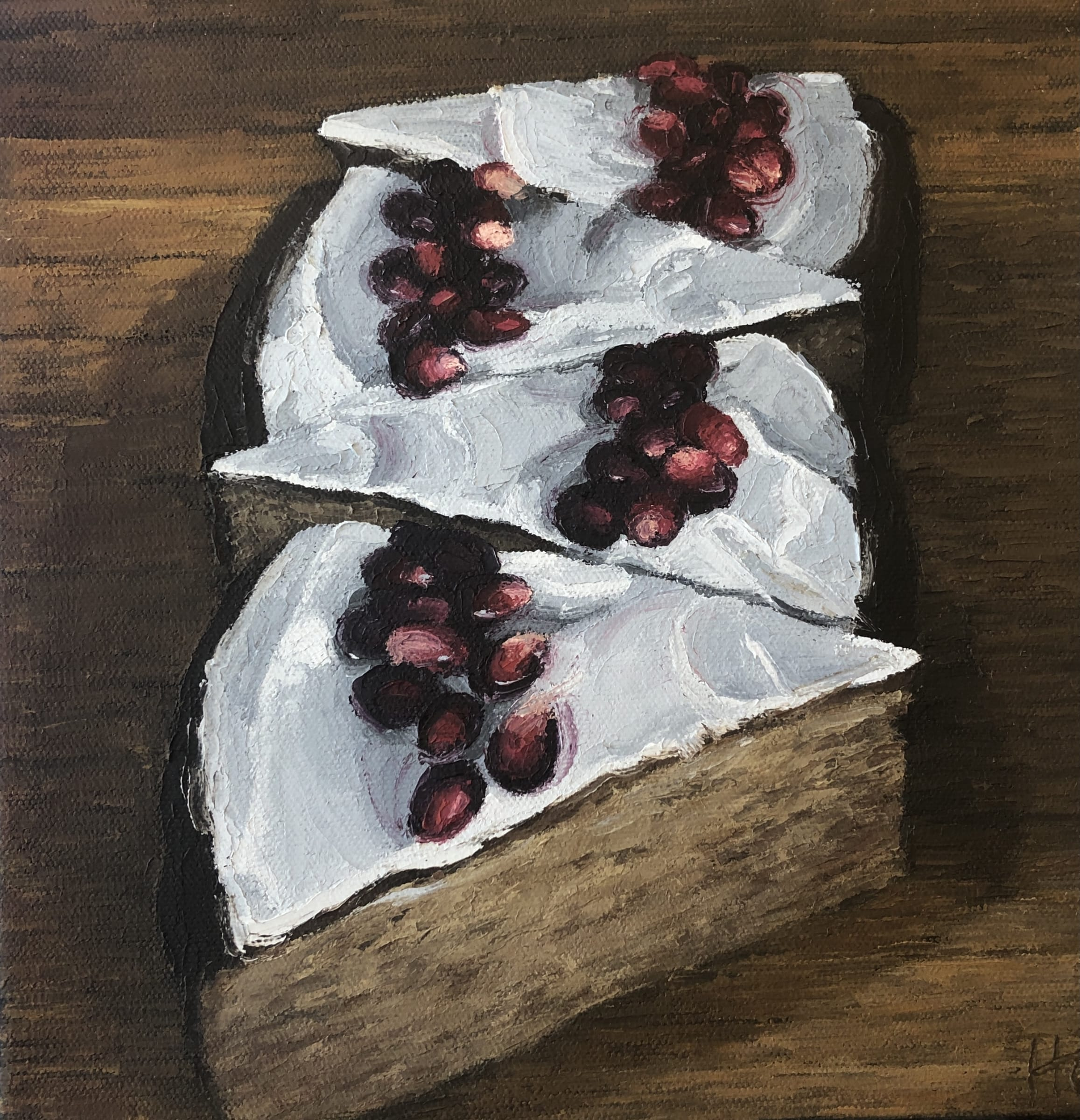 """<span class=""""link fancybox-details-link""""><a href=""""/artists/34-heather-capen/works/1457-heather-capen-rosemary-tea-cakes/"""">View Detail Page</a></span><div class=""""artist""""><strong>Heather Capen</strong></div> <div class=""""title""""><em>Rosemary Tea Cakes</em></div> <div class=""""medium"""">Oil on canvas</div> <div class=""""dimensions"""">10 x 10 inches</div>"""