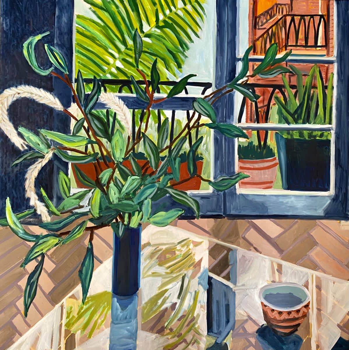 """<span class=""""link fancybox-details-link""""><a href=""""/artists/88-kate-nielsen/works/1549-kate-nielsen-view-from-darling-point/"""">View Detail Page</a></span><div class=""""artist""""><strong>Kate Nielsen</strong></div> <div class=""""title""""><em>View From Darling Point</em></div> <div class=""""medium"""">Acrylic on Canvas </div> <div class=""""dimensions"""">42 x 42 inches </div>"""