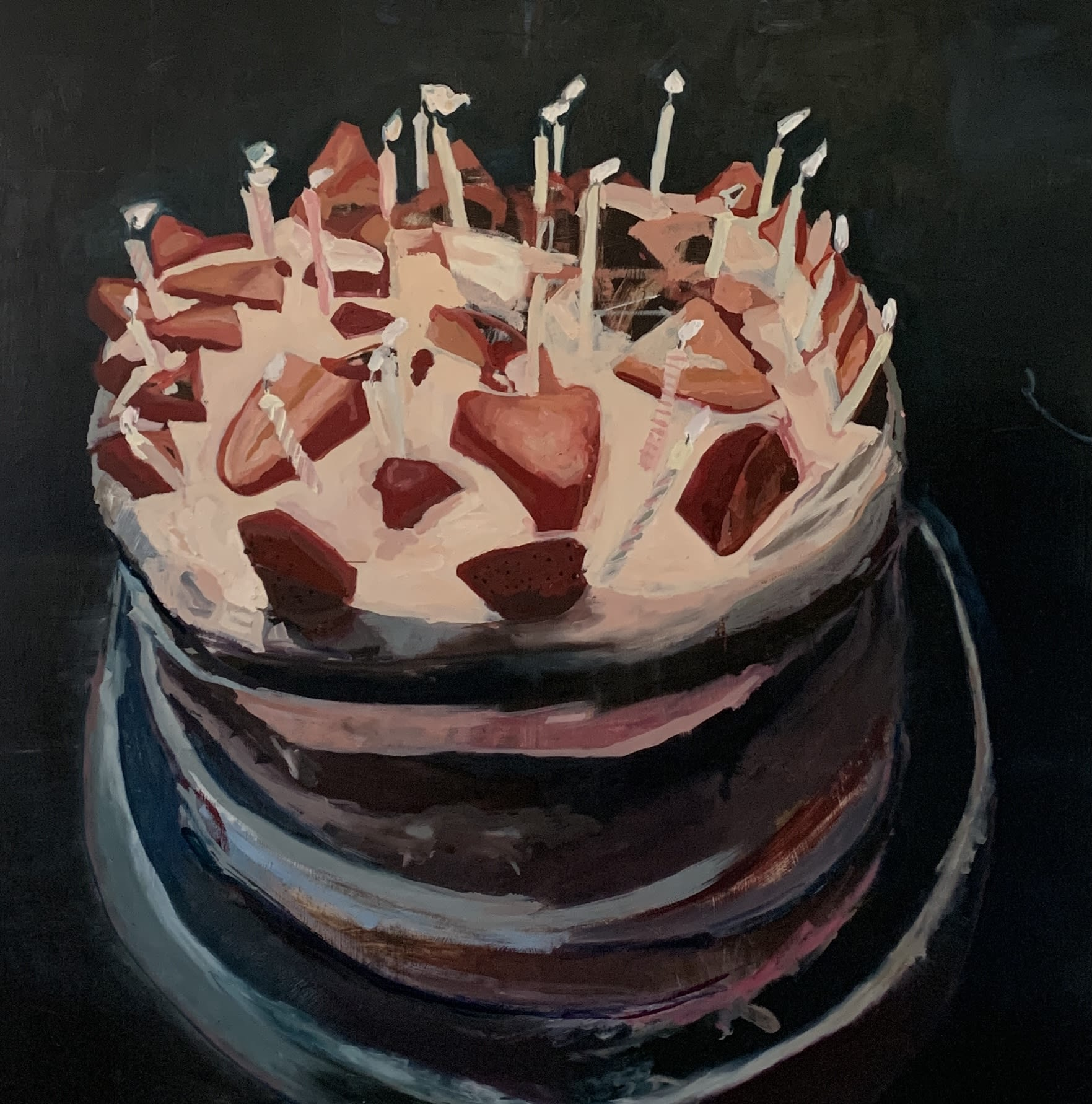 """<span class=""""link fancybox-details-link""""><a href=""""/artists/56-hadas-tal/works/1175-hadas-tal-cake/"""">View Detail Page</a></span><div class=""""artist""""><strong>Hadas Tal</strong></div> <div class=""""title""""><em>Cake</em></div> <div class=""""medium"""">Oil on wood panel</div> <div class=""""dimensions"""">42 x 42 inches</div>"""