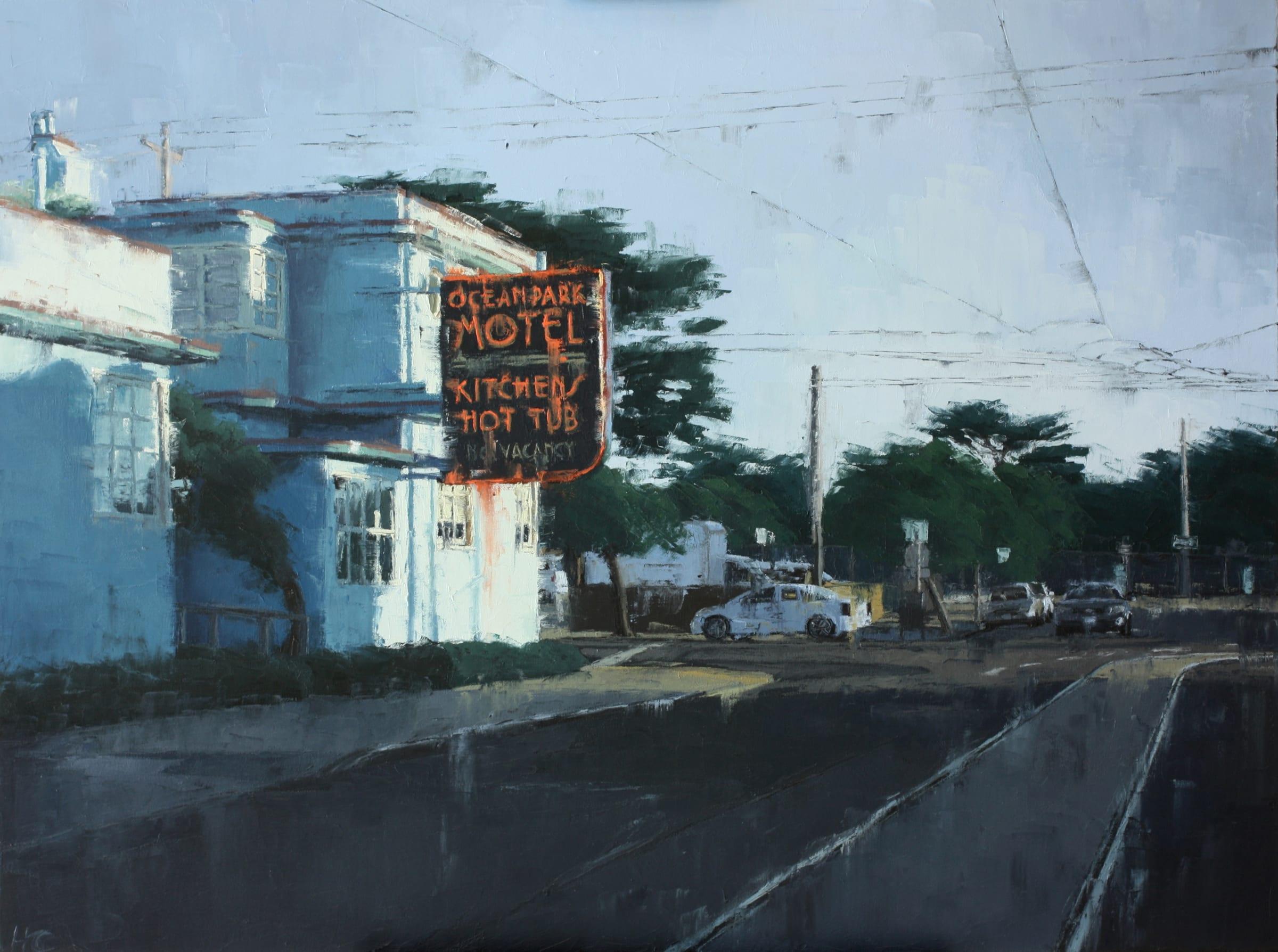 "<span class=""link fancybox-details-link""><a href=""/artists/34-heather-capen/works/164-heather-capen-ocean-park-motel/"">View Detail Page</a></span><div class=""artist""><strong>Heather Capen</strong></div> <div class=""title""><em>Ocean Park Motel</em></div> <div class=""medium"">Oil on Canvas</div> <div class=""dimensions"">31.5 x 41.5 inches</div>"