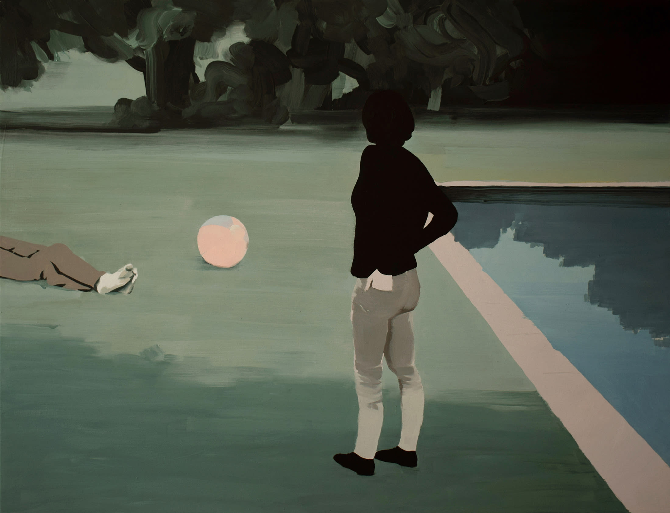 """<span class=""""link fancybox-details-link""""><a href=""""/artists/54-jarek-puczel/works/571-jarek-puczel-by-the-pool/"""">View Detail Page</a></span><div class=""""artist""""><strong>Jarek Puczel</strong></div> <div class=""""title""""><em>By the Pool</em></div> <div class=""""medium"""">Oil on Canvas</div> <div class=""""dimensions"""">27.6 x 35.4 inches</div>"""